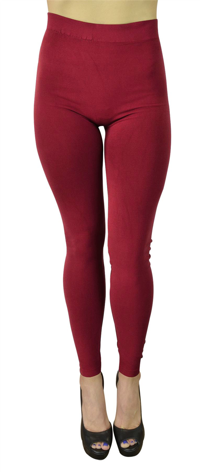 Belle Donne High Waist Leggings Tights for Women Fashion Gym Yoga Casual Trendy Colors - Burgundy-5 in-Waistband