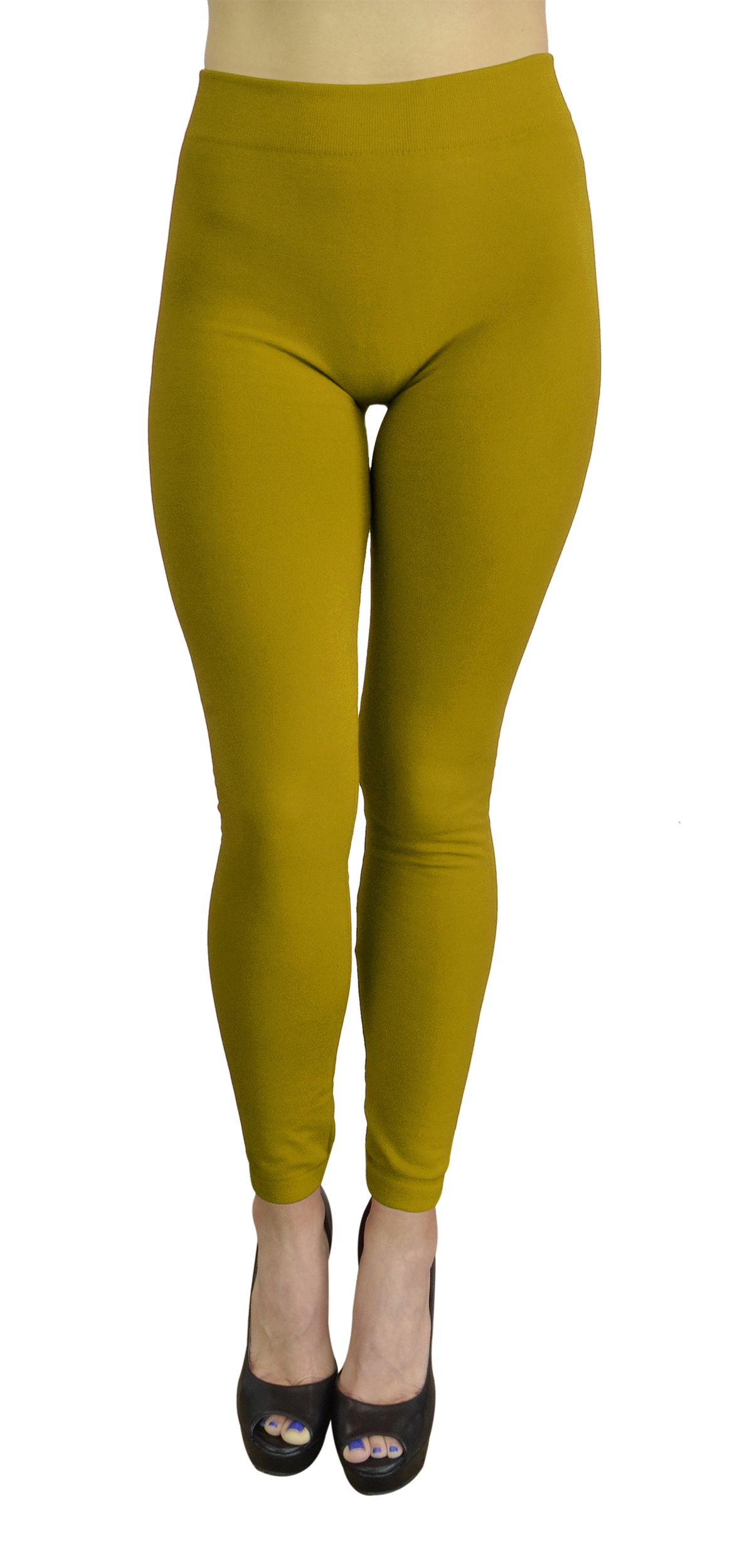 Belle Donne - Women's Fleece Lined Leggings (One Size) - Mustard