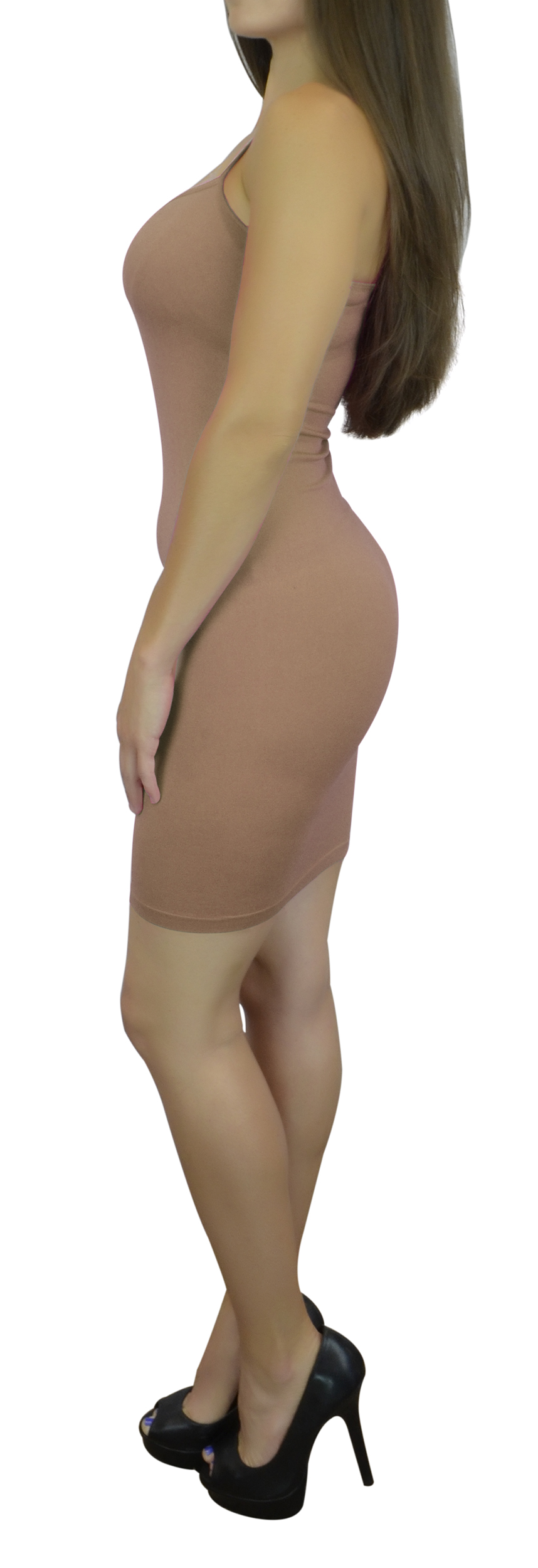 Women's Cami Dress Slip with Spaghetti Straps Long - Camel One Size