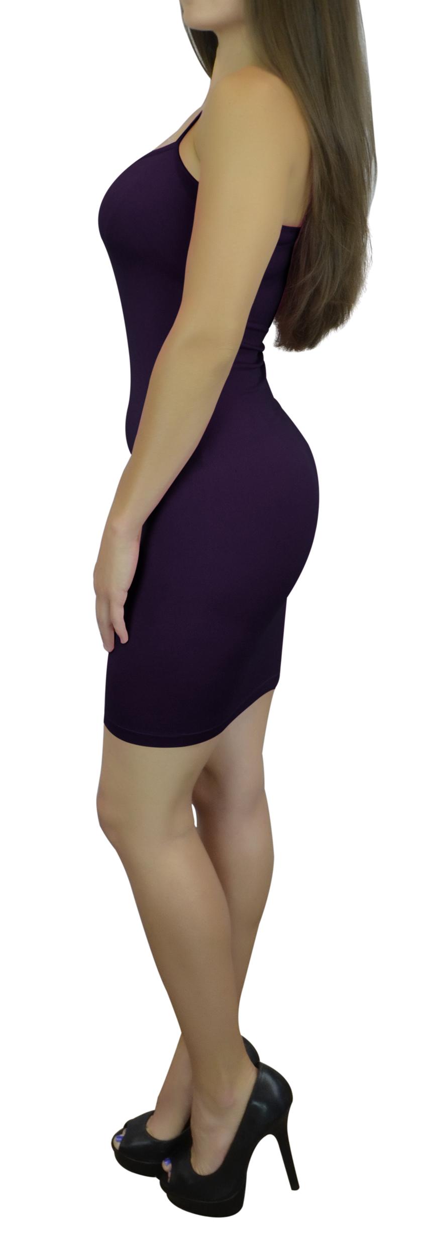 Women's Cami Dress Slip with Spaghetti Straps Long - Dark Purple One Size