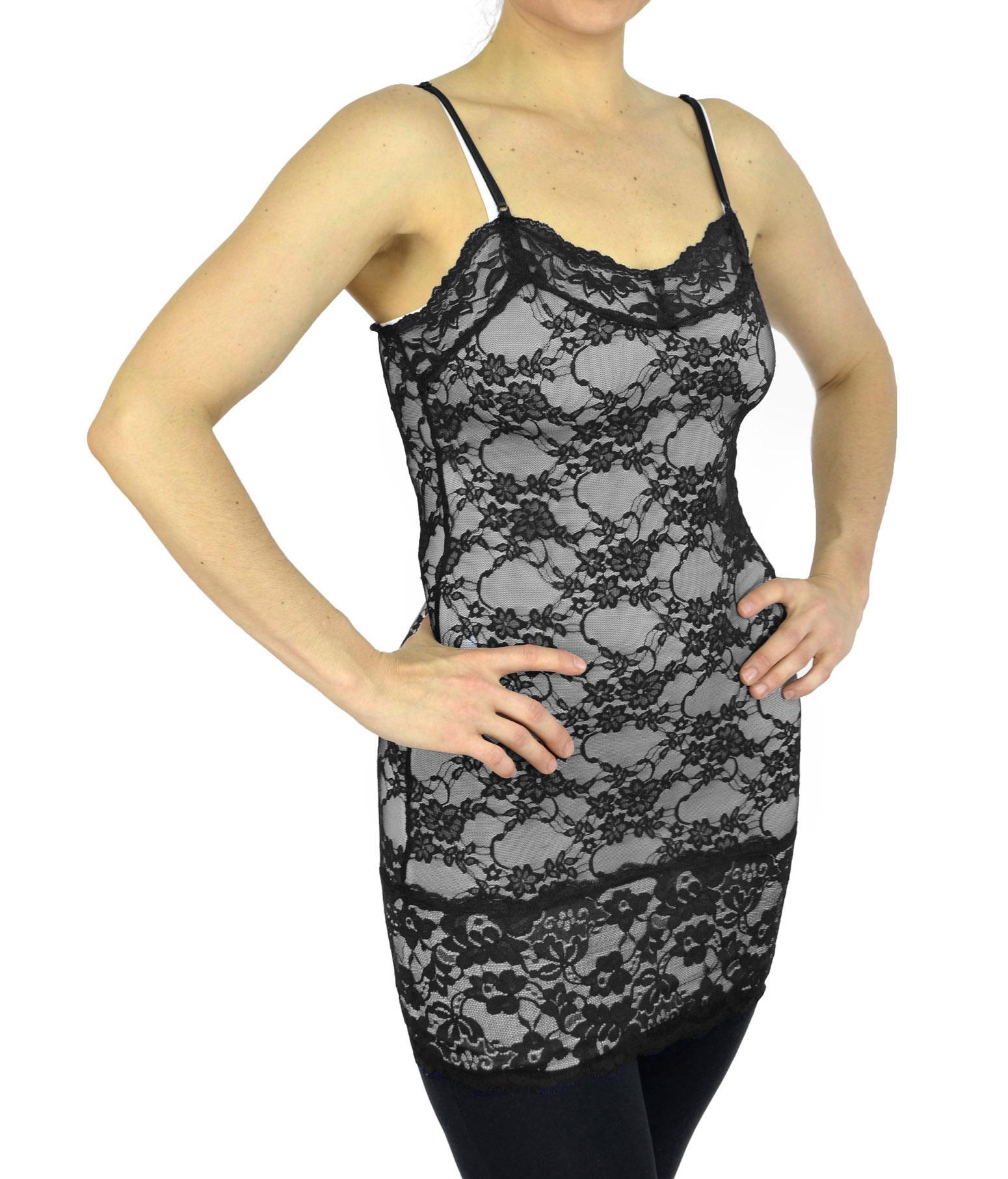 Belle Donne - Womens Tank top Cami Top Spaghetti Strap Lace Camisole Tank Top - Dark Prada/Small