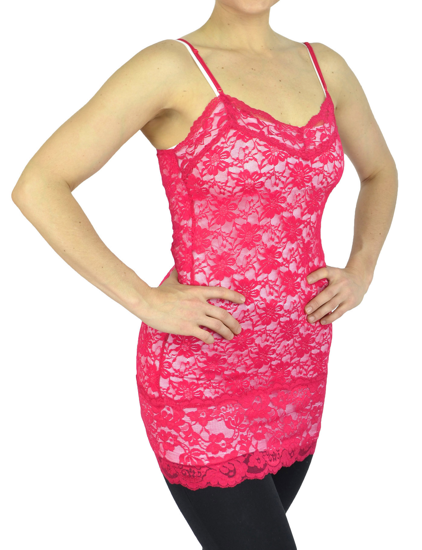 Belle Donne - Womens Tank top Cami Top Spaghetti Strap Lace Camisole Tank Top - LCoral/Small