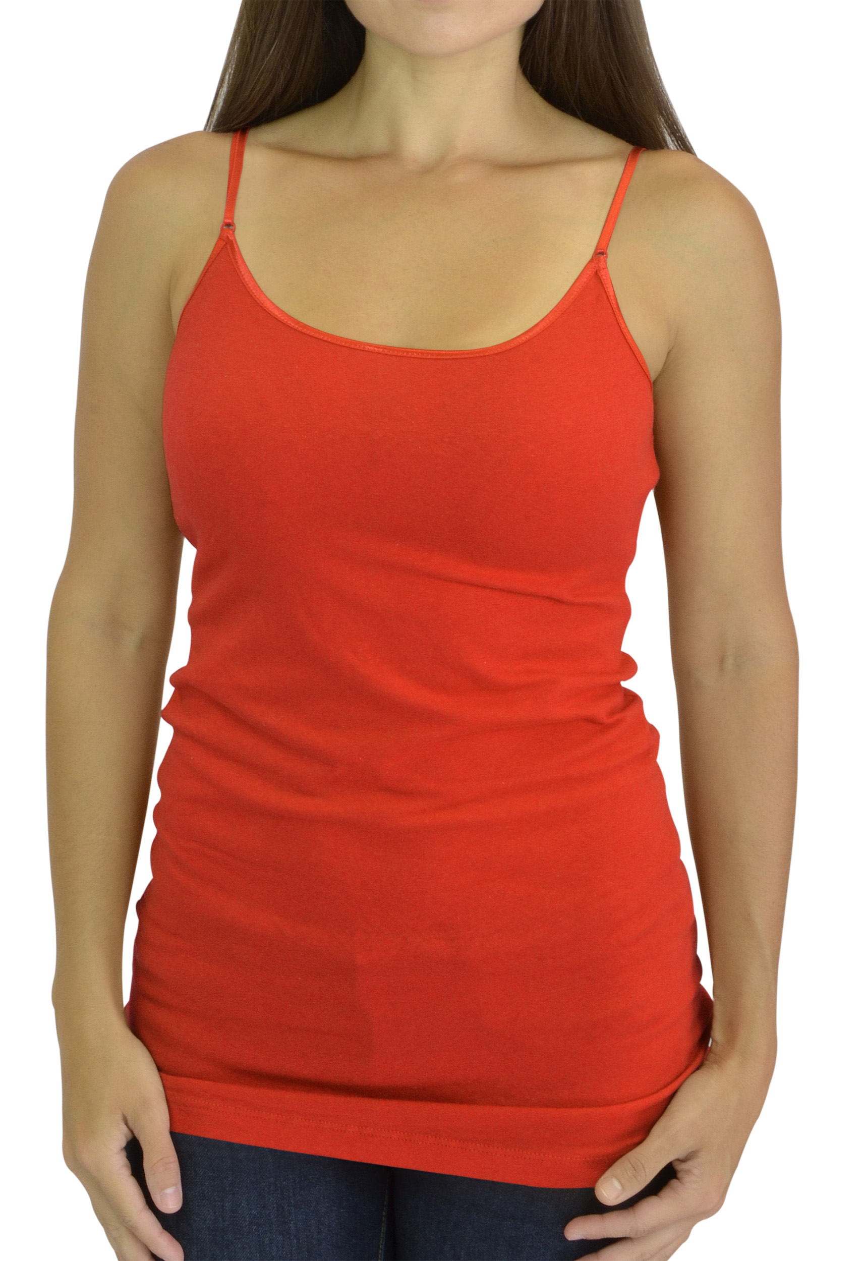 Belle Donne Women's Adjustable SpaghettiStrap Tanktop Cami - Tomato Medium