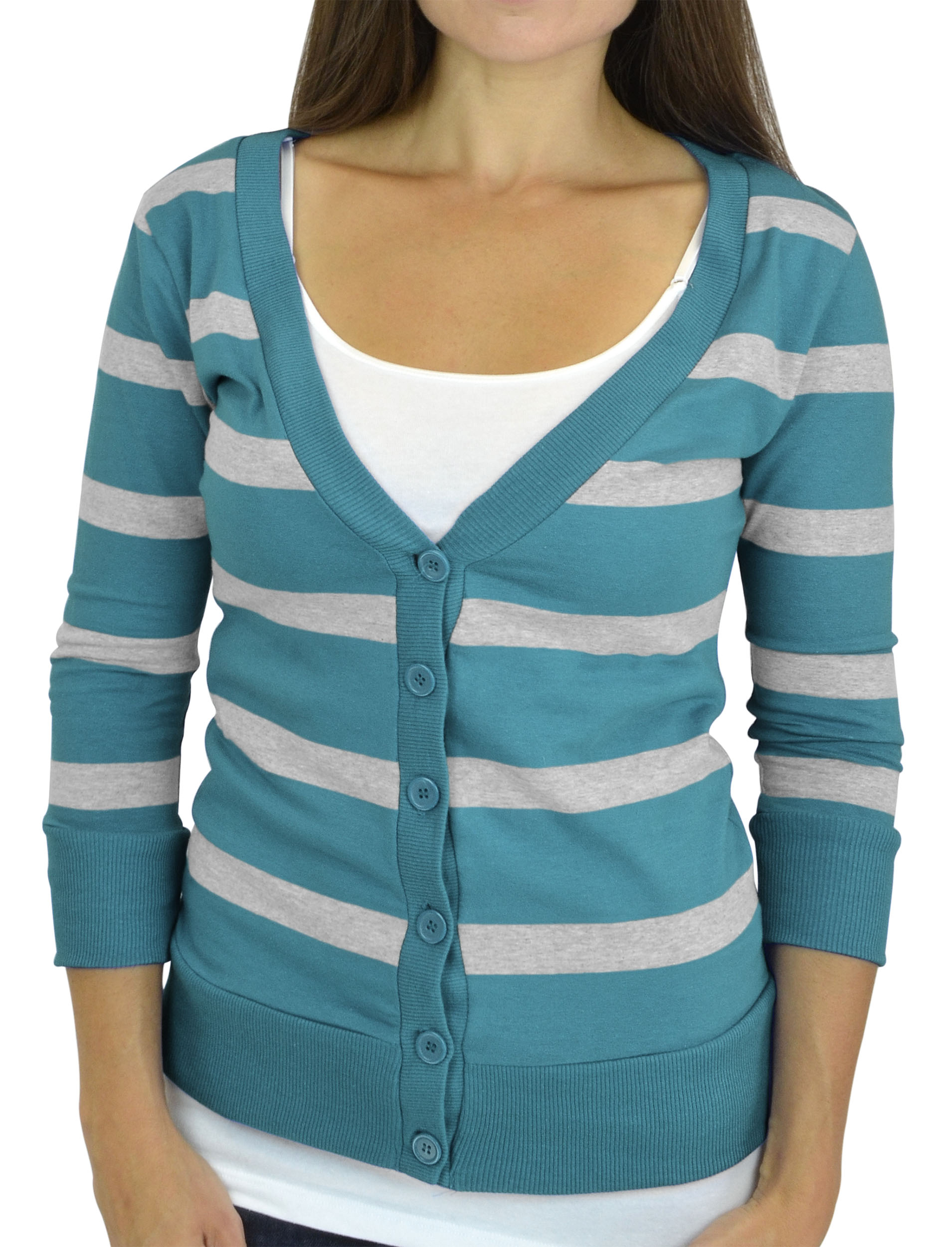 Belle Donne - Women / Girl Junior Size Soft 3/4 Sleeve V-Neck Sweater Cardigans - Teal/Small