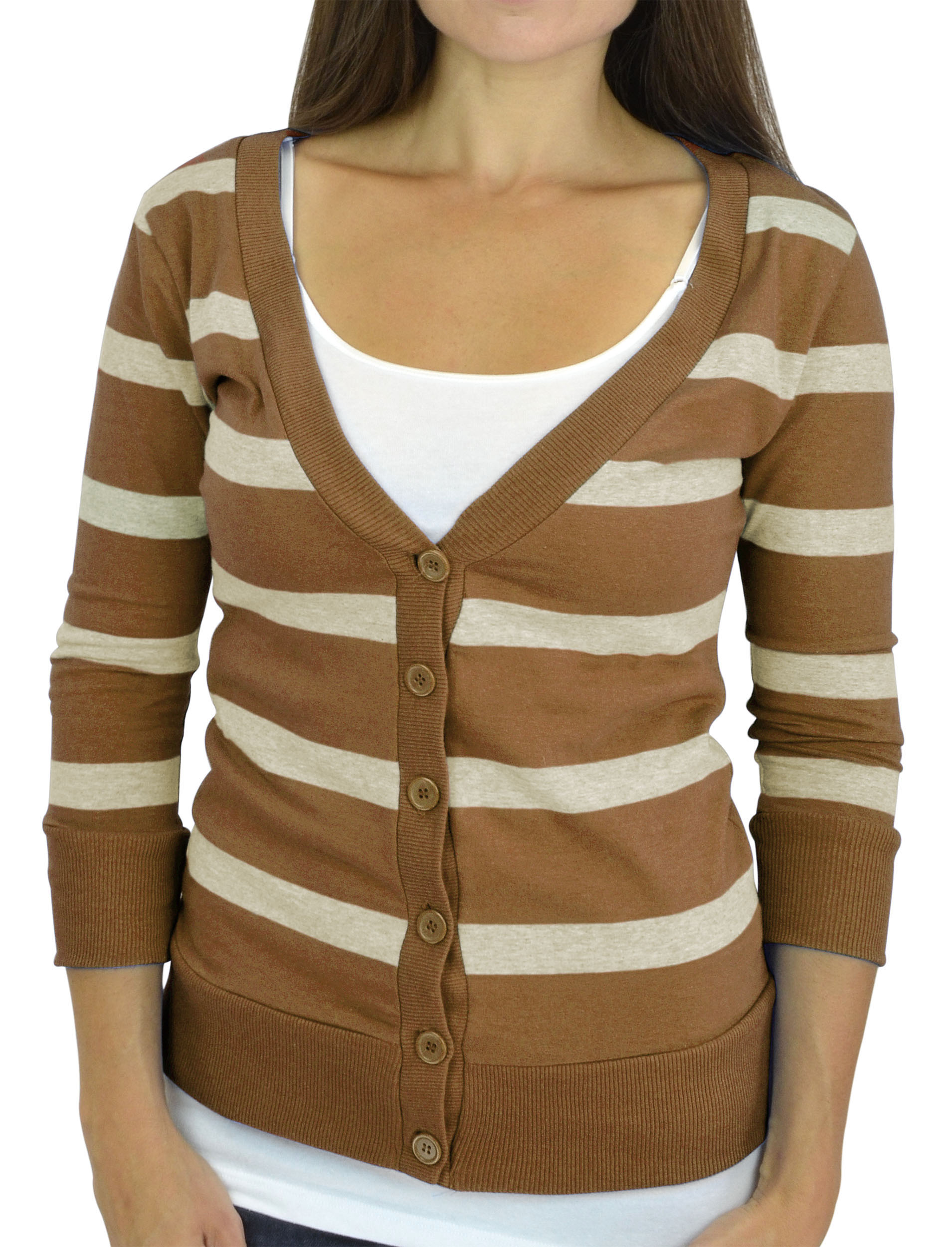 Belle Donne - Women / Girl Junior Size Soft 3/4 Sleeve V-Neck Sweater Cardigans - Heather Beige/Medium