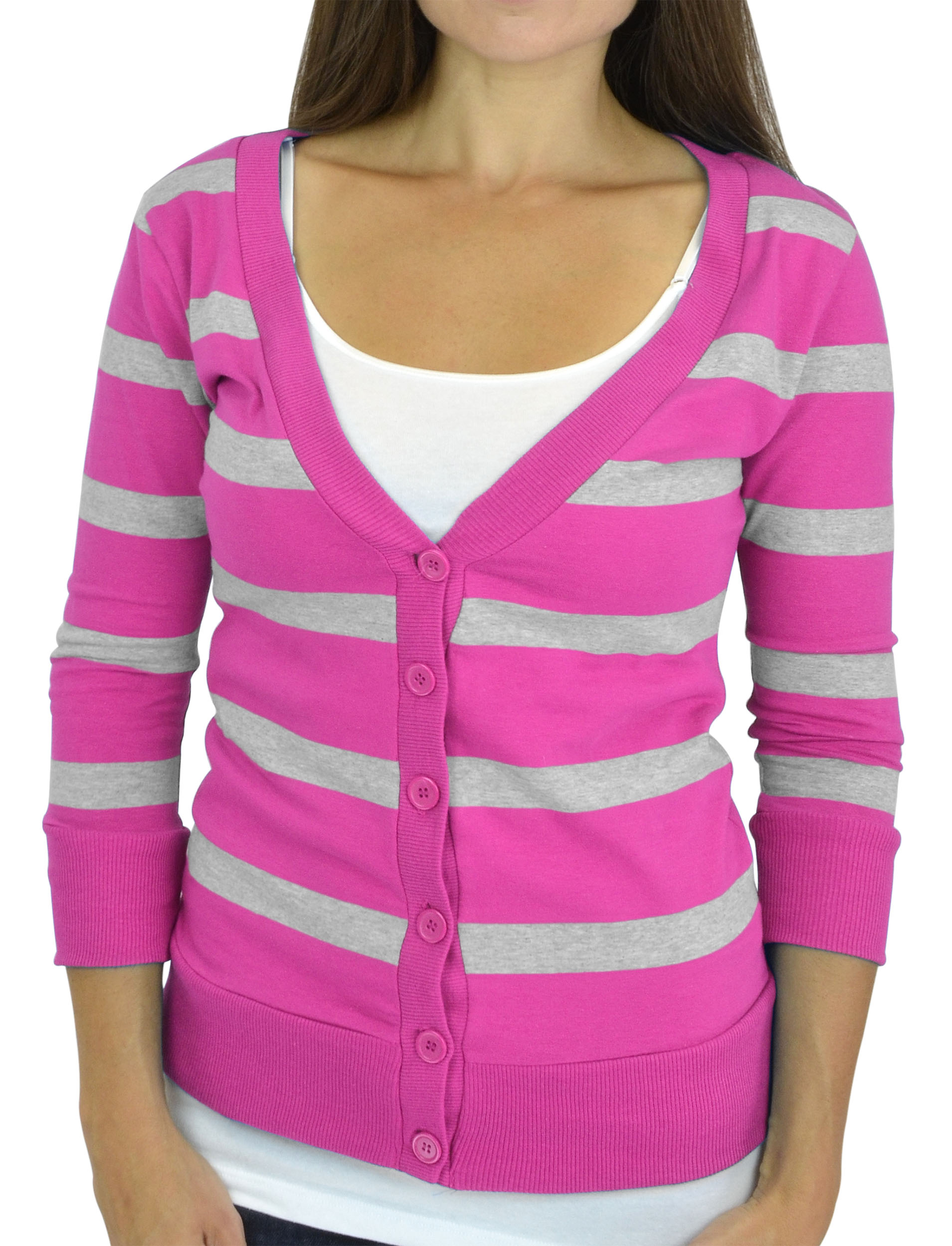Belle Donne - Women / Girl Junior Size Soft 3/4 Sleeve V-Neck Sweater Cardigans - /Large
