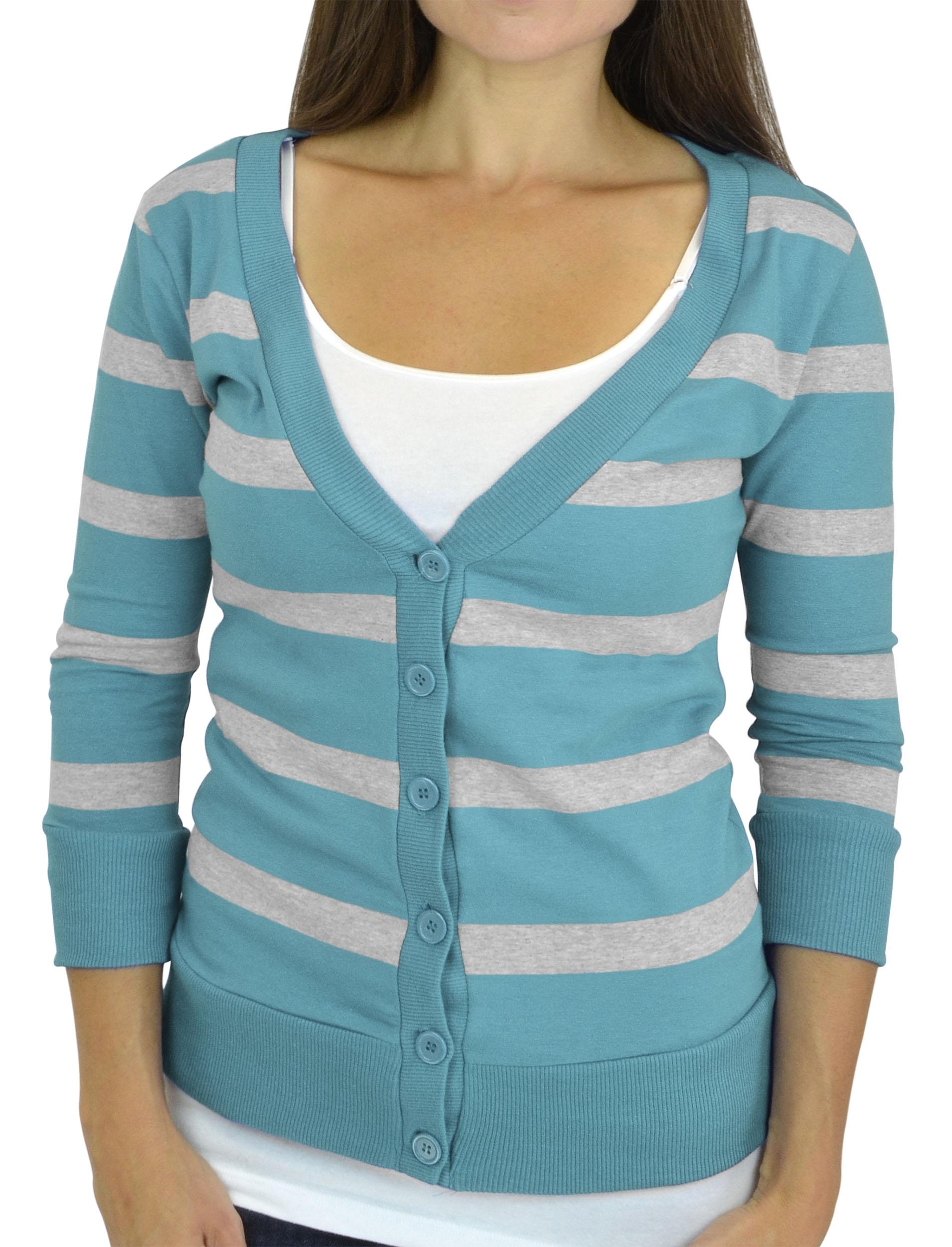 Belle Donne - Women / Girl Junior Size Soft 3/4 Sleeve V-Neck Sweater Cardigans - Heather Gray/Medium