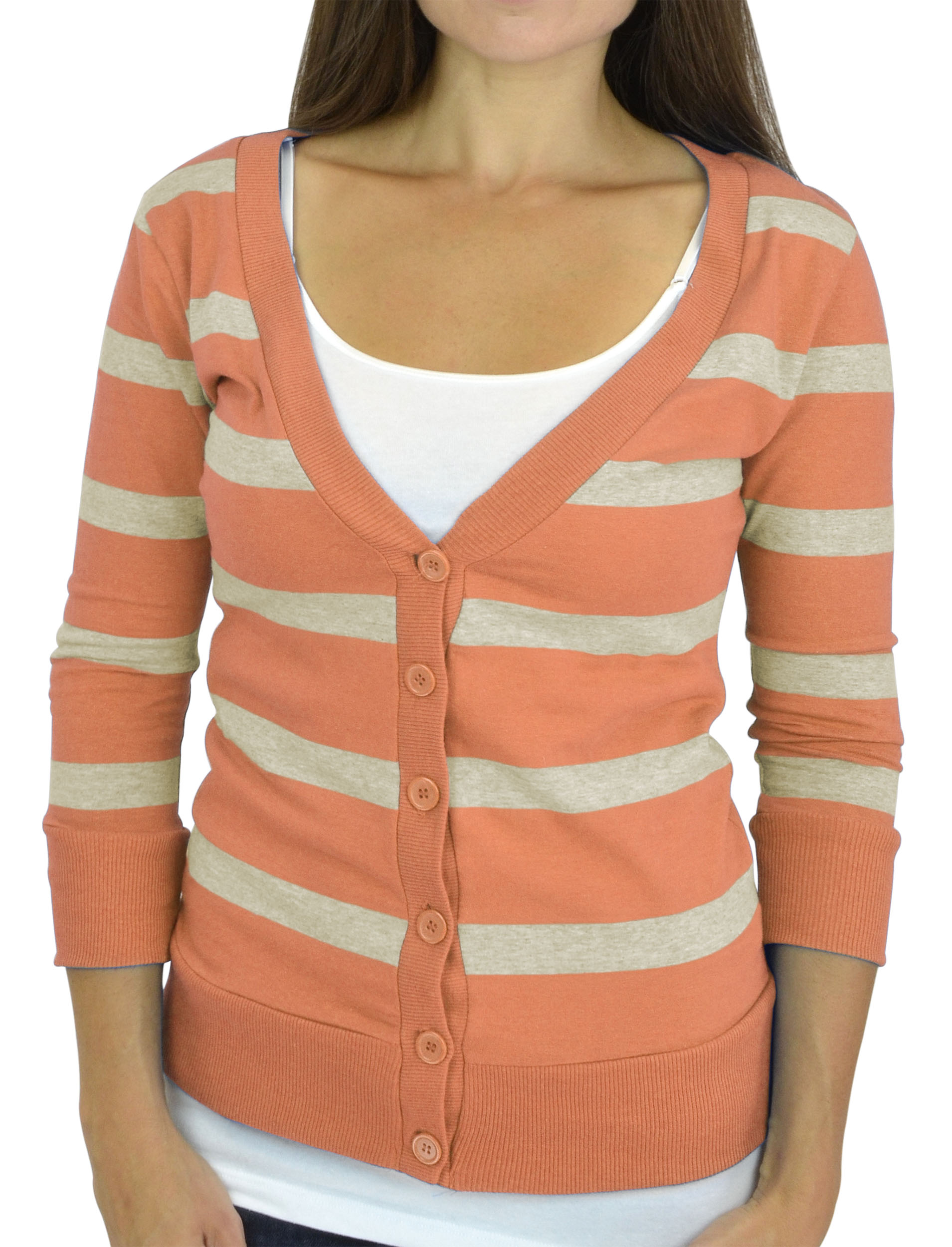 Belle Donne - Women / Girl Junior Size Soft 3/4 Sleeve V-Neck Sweater Cardigans - Peach/Small