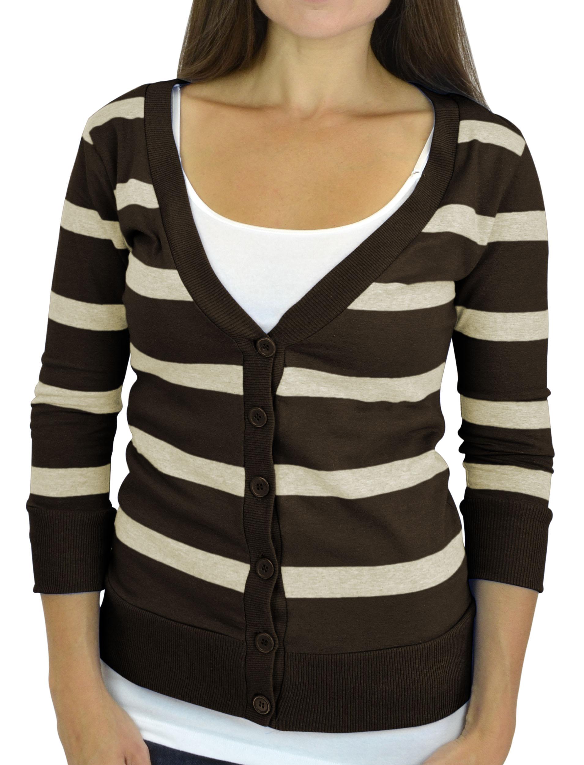 Belle Donne - Women / Girl Junior Size Soft 3/4 Sleeve V-Neck 6 Button Cardigans - Brown/Large