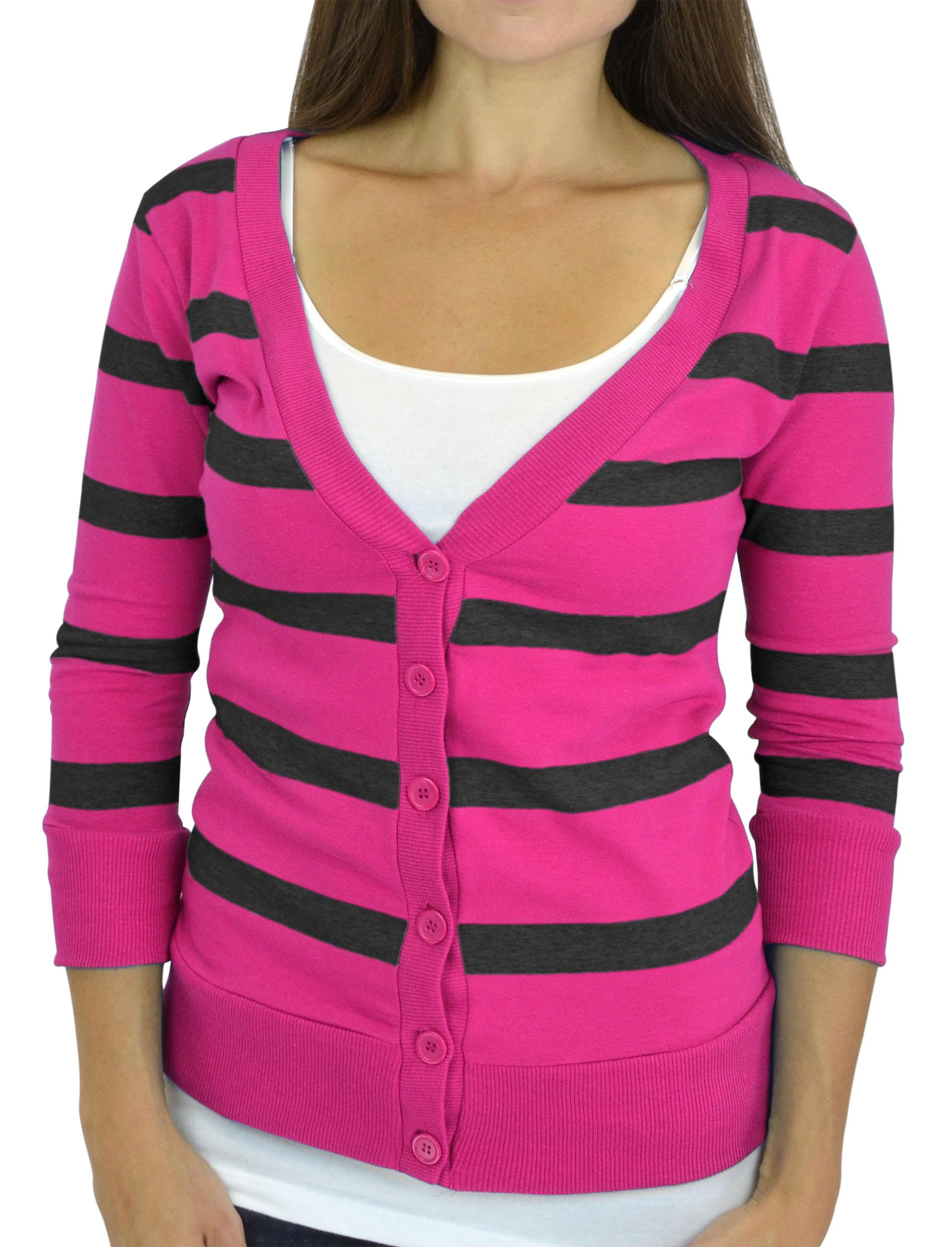Belle Donne - Women / Girl Junior Size Soft 3/4 Sleeve V-Neck Sweater Cardigans - Black/Small