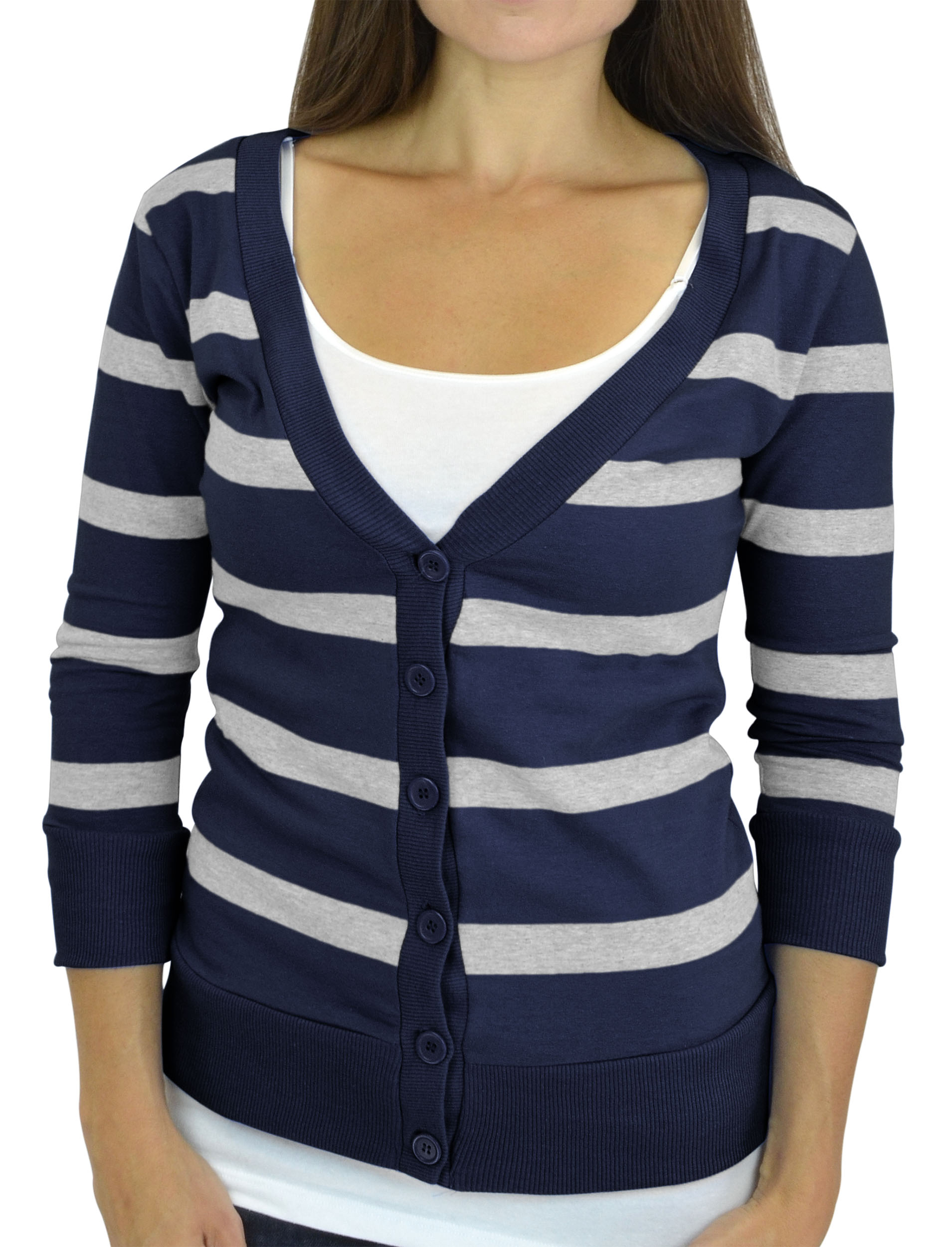 Belle Donne - Women / Girl Junior Size Soft 3/4 Sleeve V-Neck Sweater Cardigans - Navy/Small