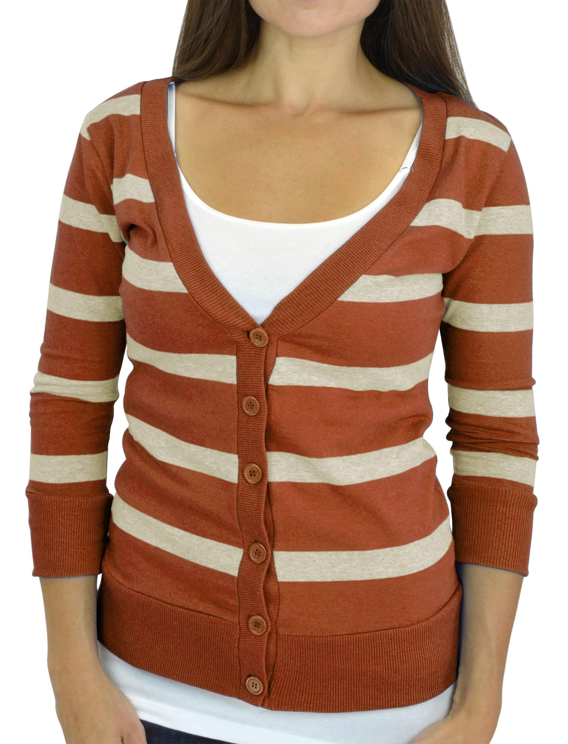 Belle Donne - Women / Girl Junior Size Soft 3/4 Sleeve V-Neck Sweater Cardigans - Rust/Medium