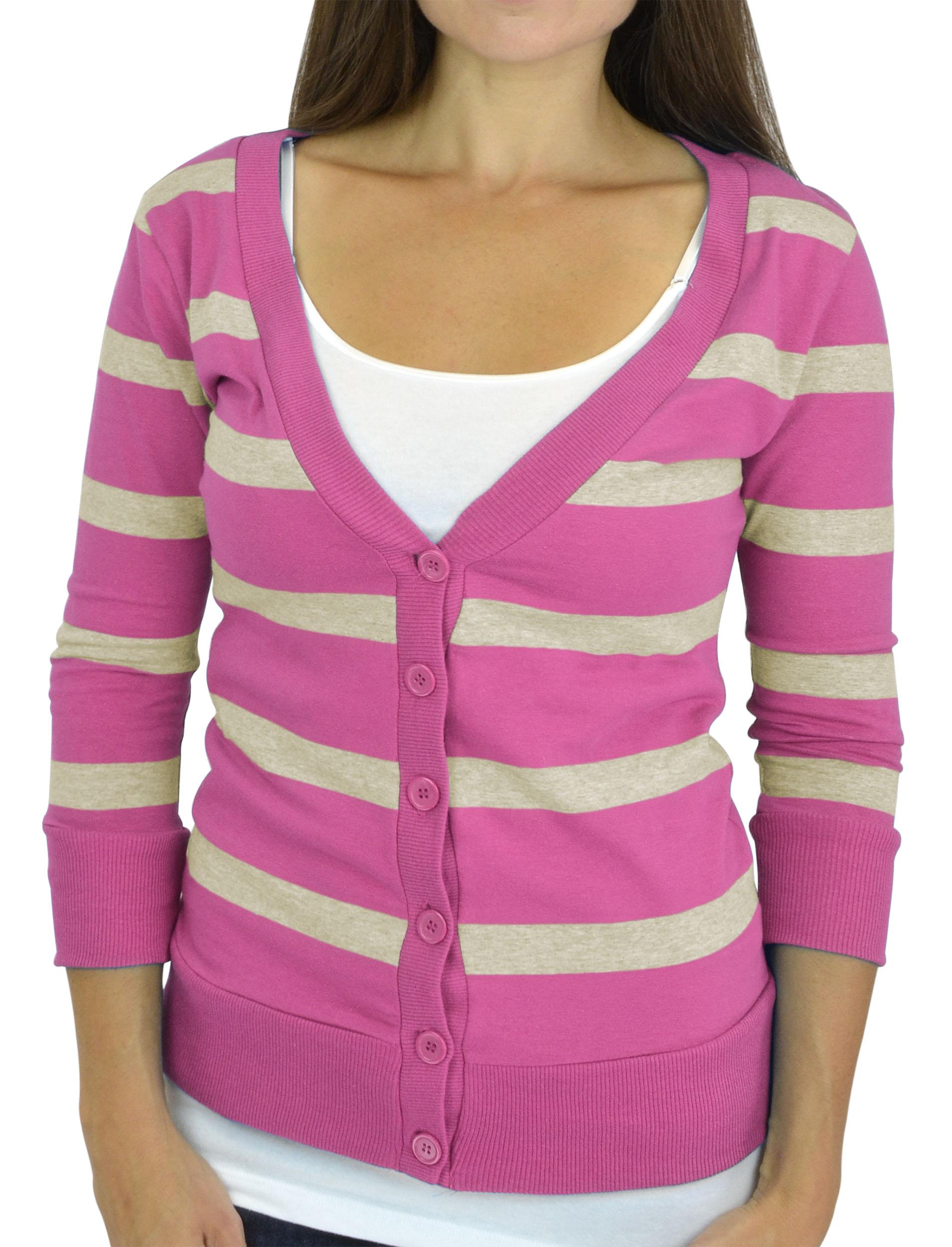 Belle Donne - Women / Girl Junior Size Soft 3/4 Sleeve V-Neck Sweater Cardigans - Fuchsia/Large
