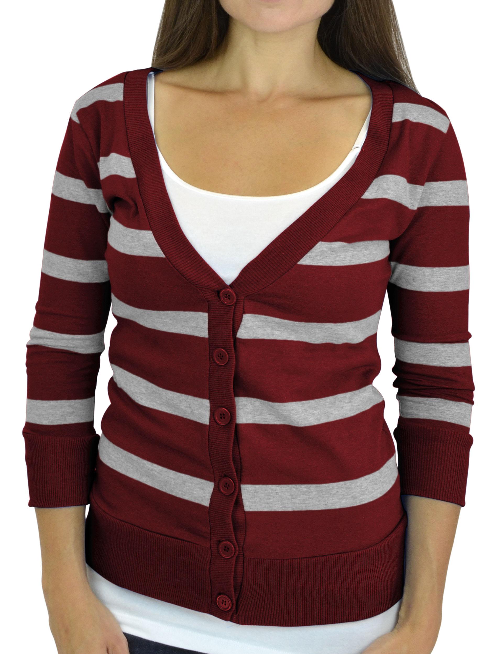 Belle Donne - Women / Girl Junior Size Soft 3/4 Sleeve V-Neck Sweater Cardigans - Burgundy/Small