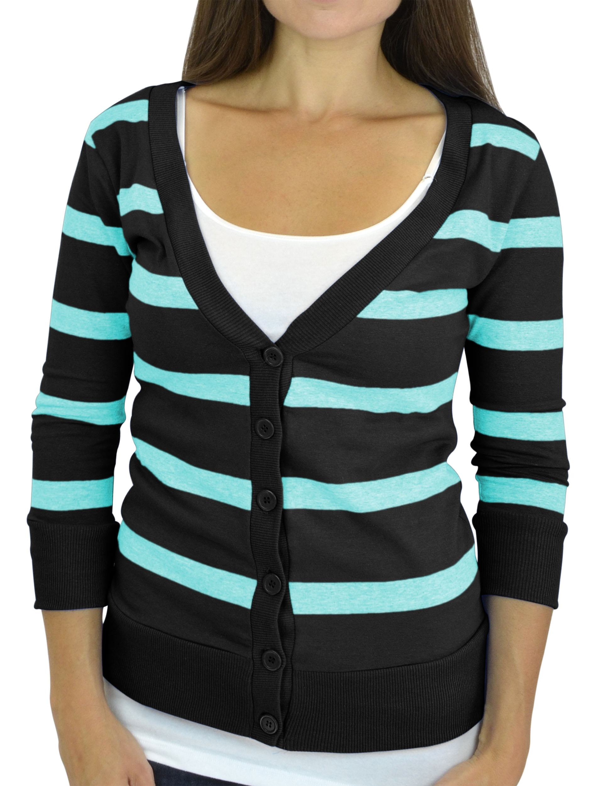 Belle Donne - Women / Girl Junior Size Soft 3/4 Sleeve V-Neck Sweater Cardigans - Black/Medium