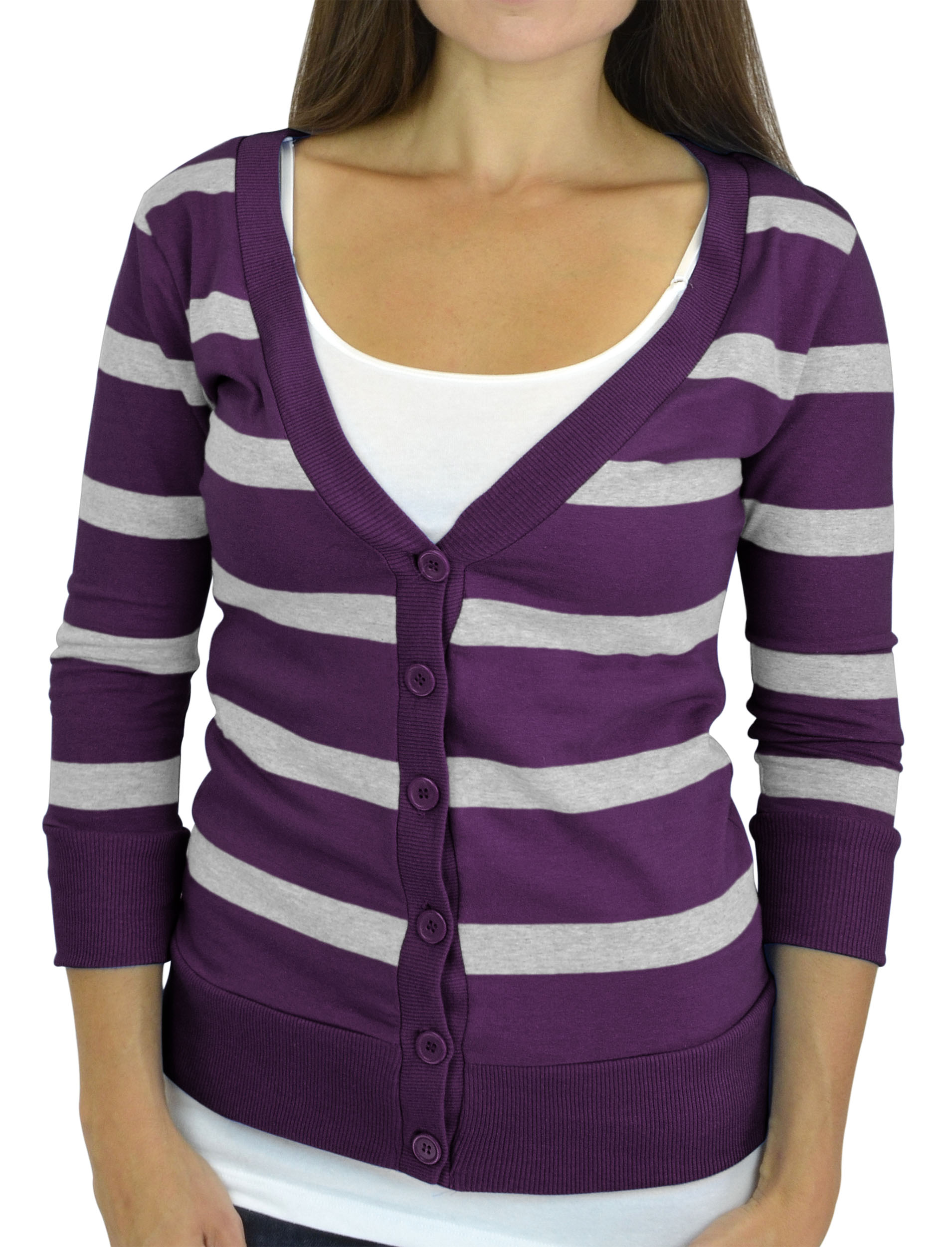 Belle Donne - Women / Girl Junior Size Soft 3/4 Sleeve V-Neck Sweater Cardigans - Purple/Medium