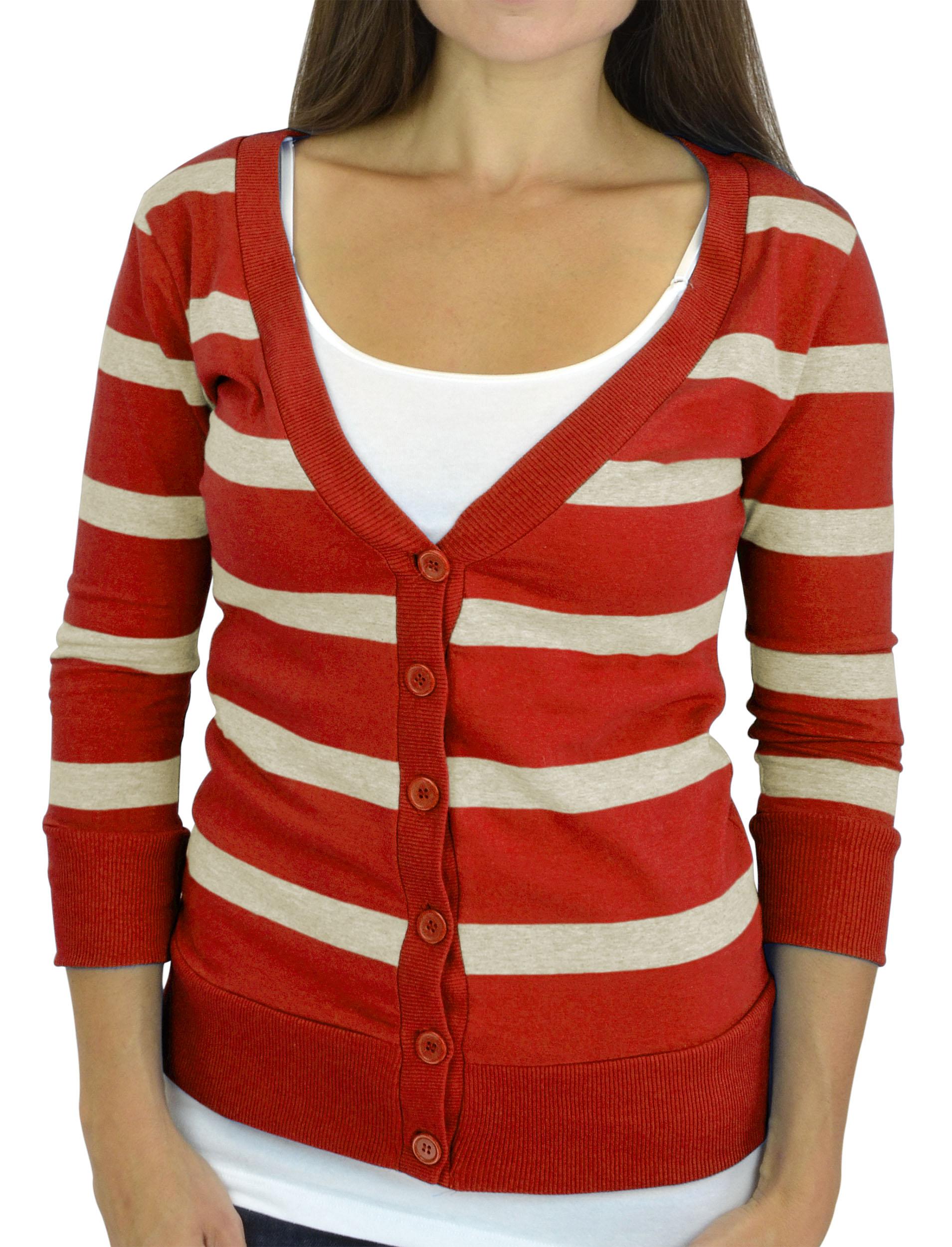 Belle Donne - Women / Girl Junior Size Soft 3/4 Sleeve V-Neck Sweater Cardigans - Heather Beige/Large