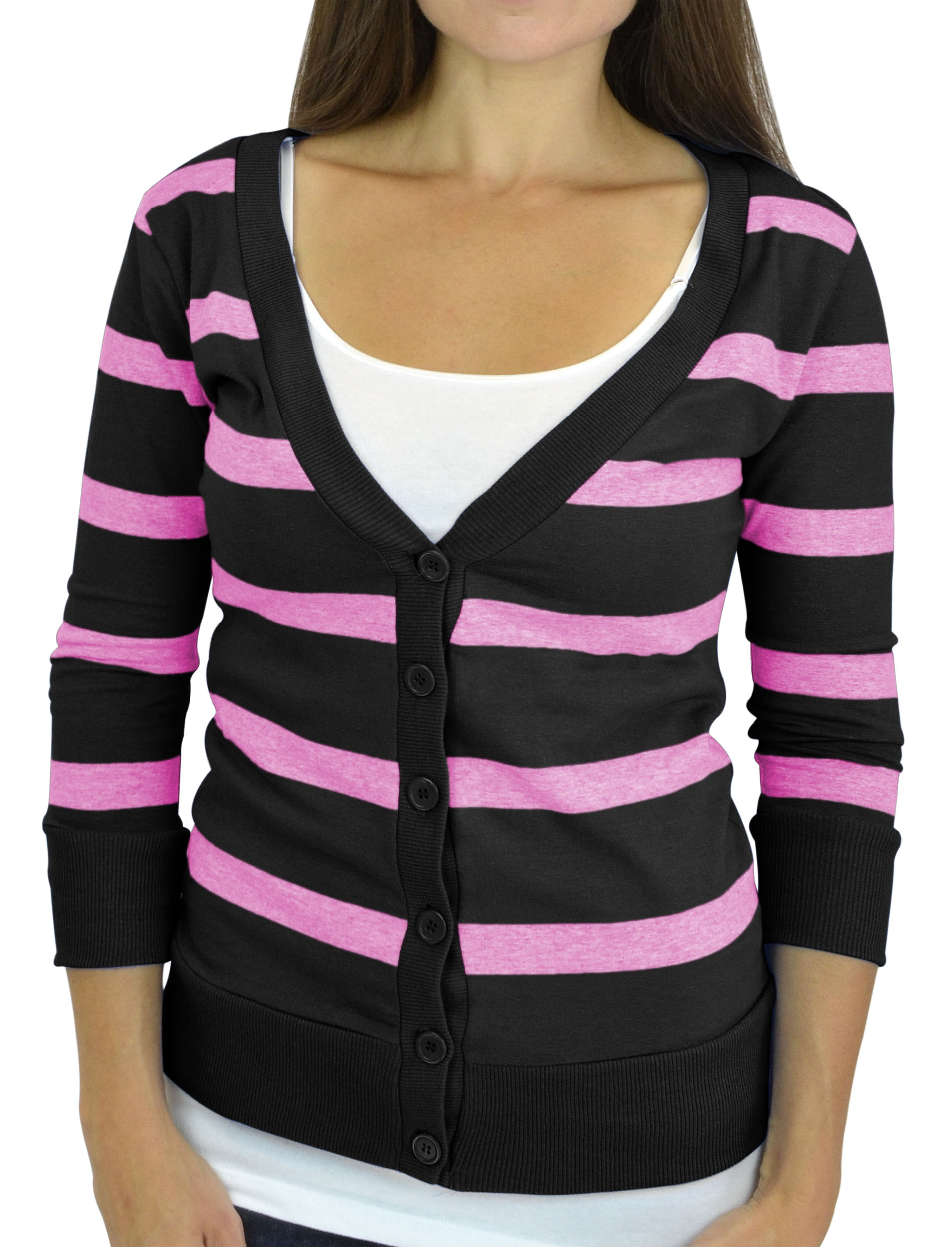 Belle Donne - Women / Girl Junior Size Soft 3/4 Sleeve V-Neck Sweater Cardigans - Black/Large