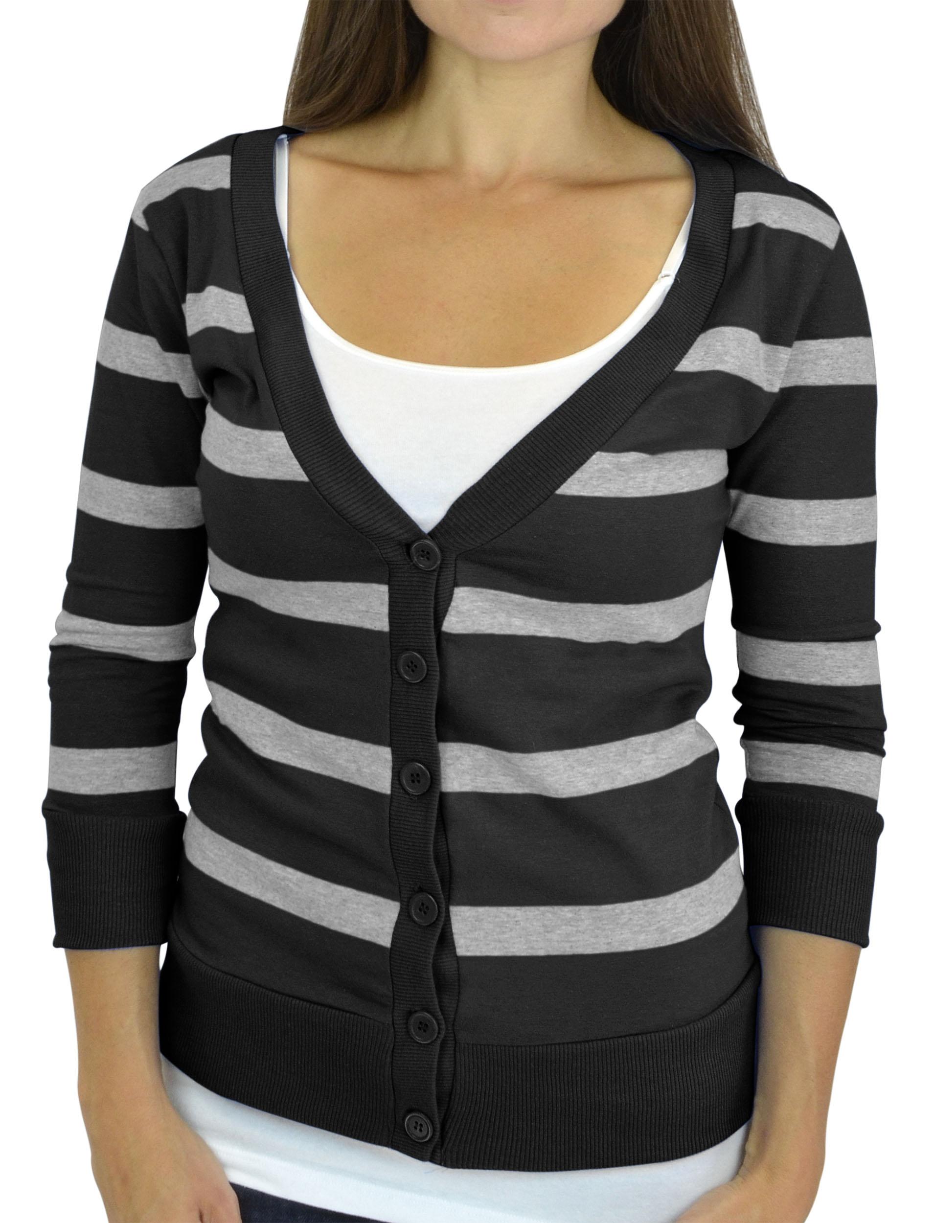 Belle Donne - Women / Girl Junior Size Soft 3/4 Sleeve V-Neck Sweater Cardigans - Charcoal/Medium