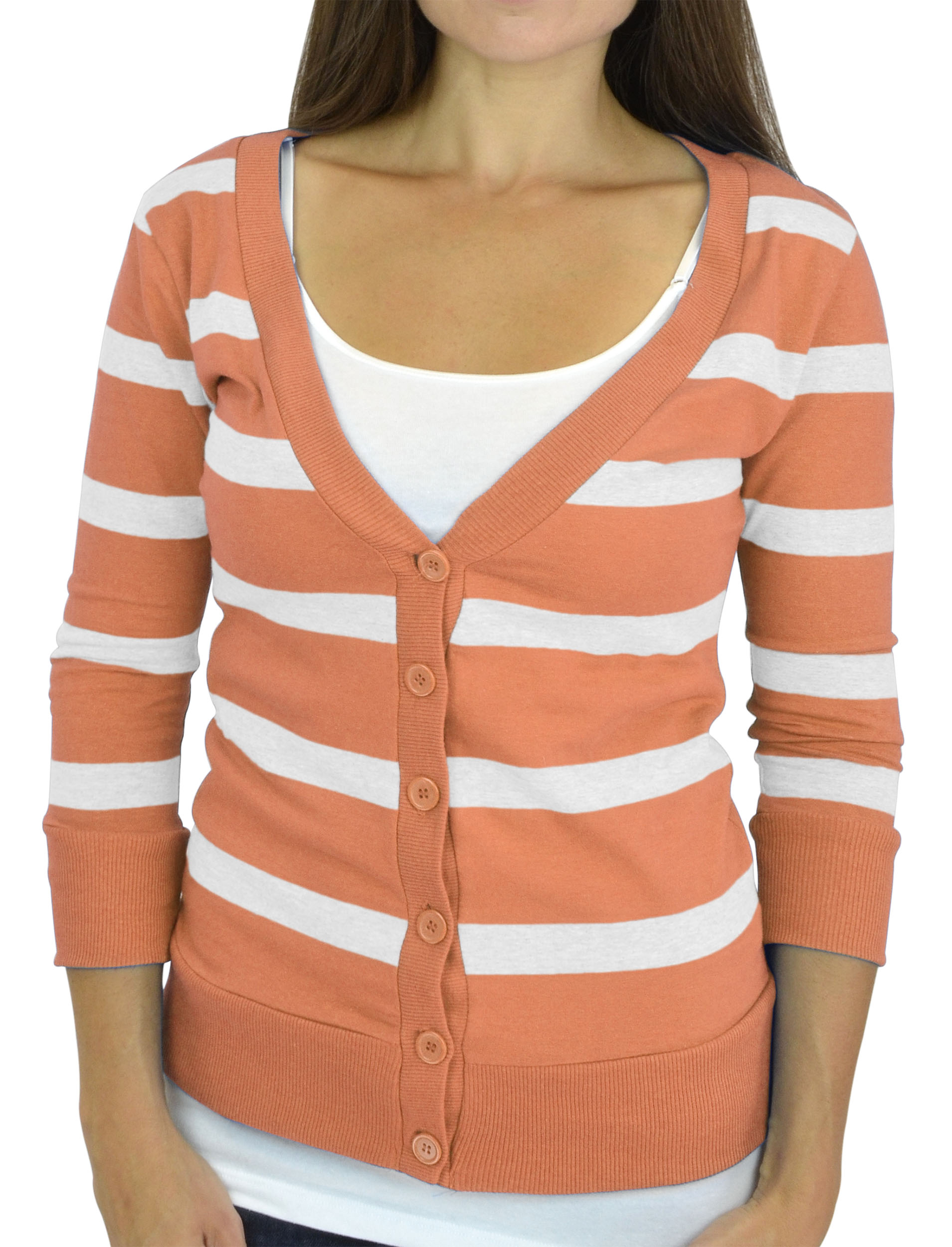 Belle Donne - Women / Girl Junior Size Soft 3/4 Sleeve V-Neck Sweater Cardigans - Peach/Large