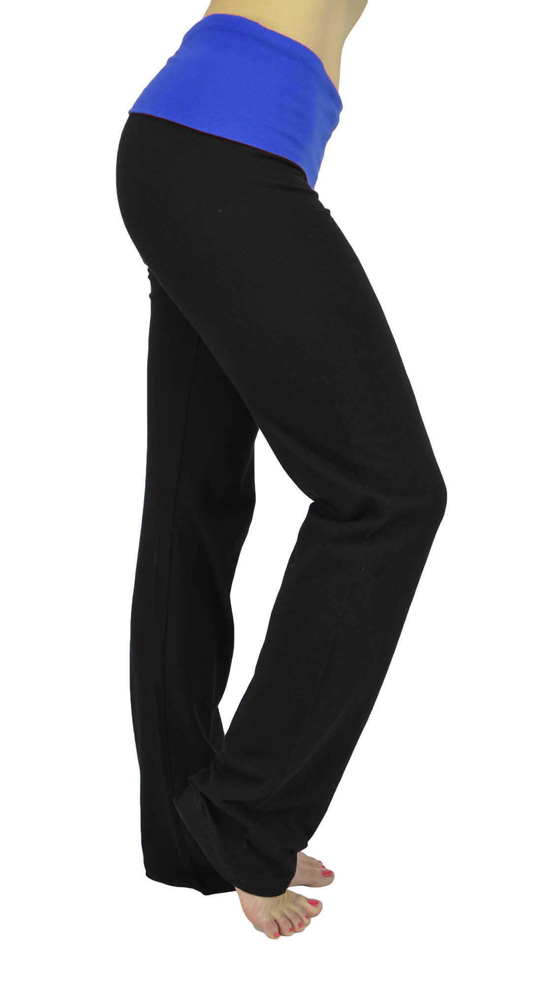 Belle Donne Womens Workout Fexible Fold Over Cotton Yoga Pant-Bright Royal/Small