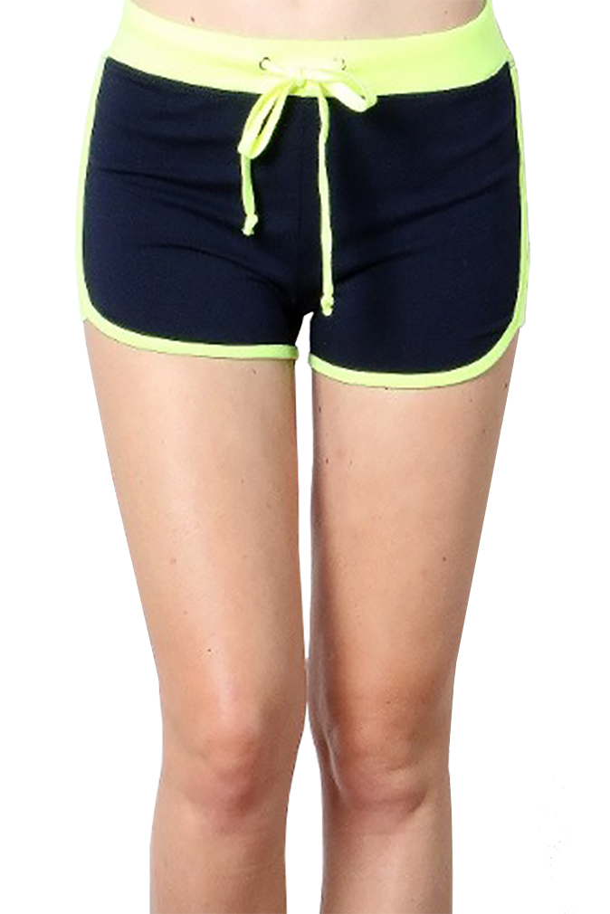 Women Yoga Shorts - Fold Over Cotton Shorts for Gym Girls by Belle Donne - Navy Medium