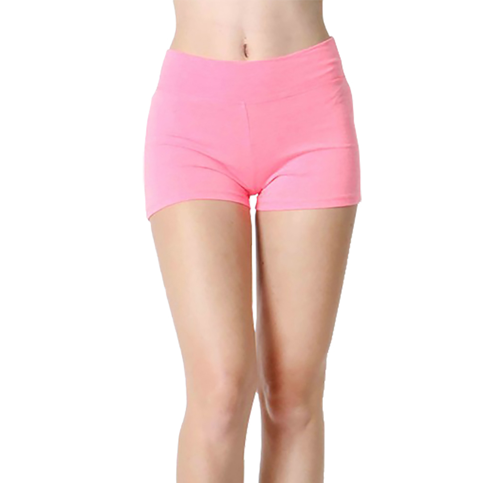 Belle Donne Womens Cotton Yoga Shorts - Foldover Cotton Spandex Girls Bike Running Boyshorts by Neon Pink Small