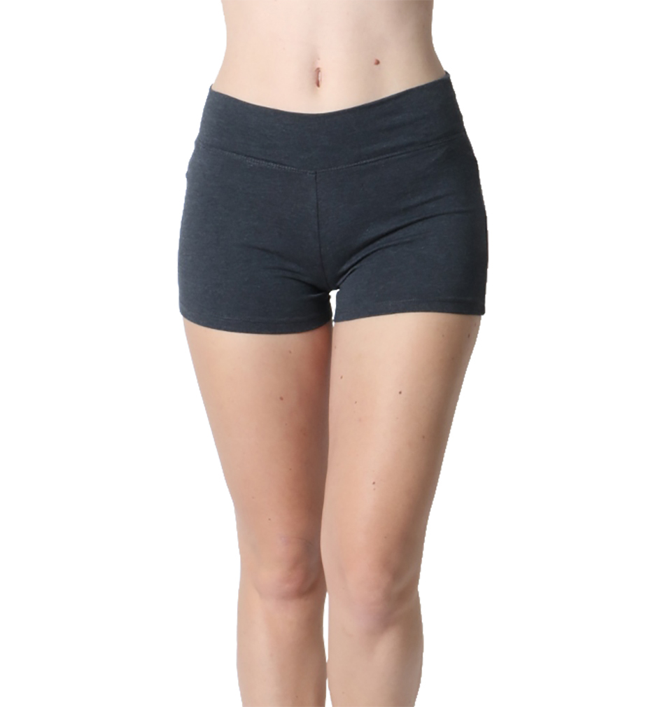 Belle Donne Womens Cotton Yoga Shorts - Foldover Cotton Spandex Girls Bike Running Boyshorts by Charcoal Small