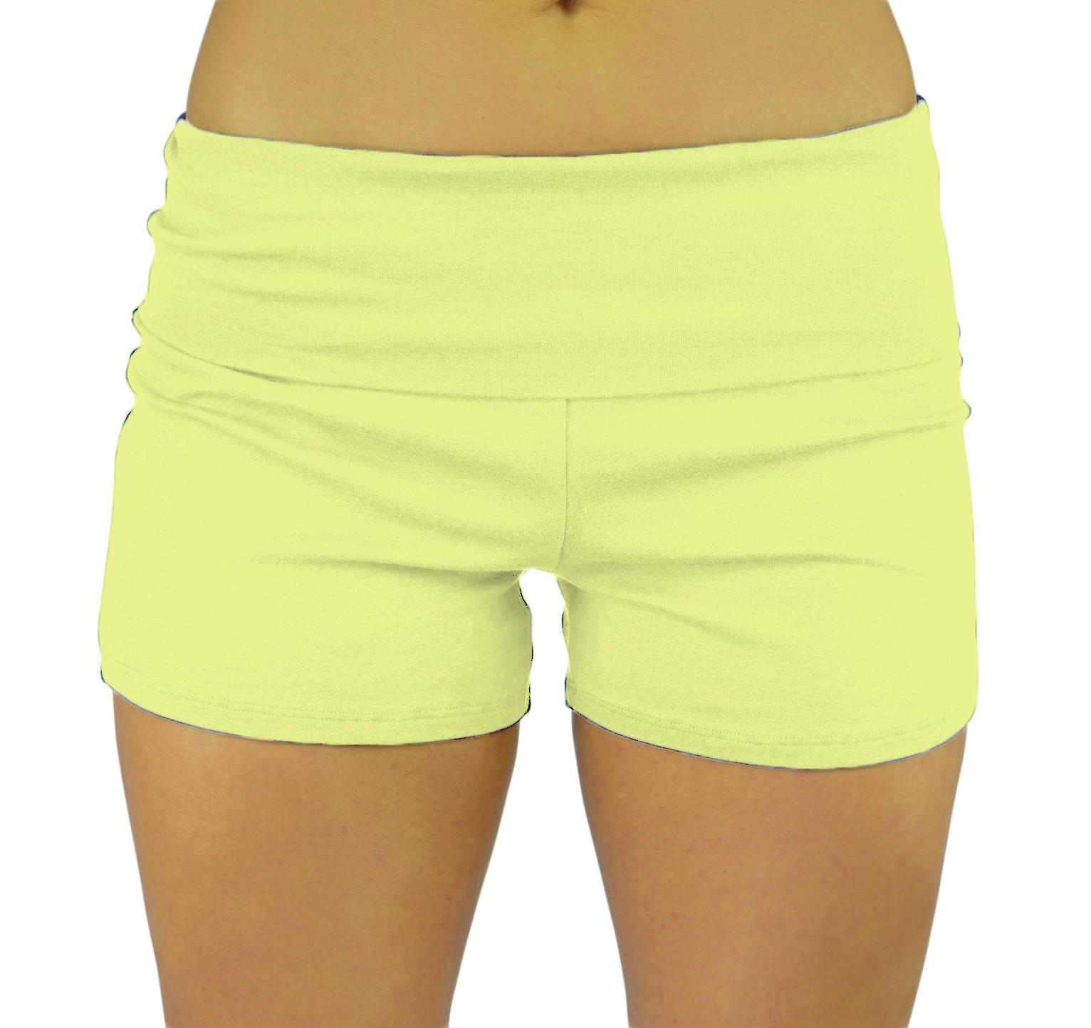 Belle Donne Womens Cotton Yoga Shorts - Foldover Cotton Spandex Girls Bike Running Boyshorts by Neon Lemon/S