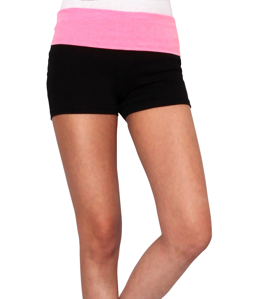 Women Yoga Shorts - Fold Over Cotton Shorts for Gym Girls by Belle Donne - Neon Pink Small