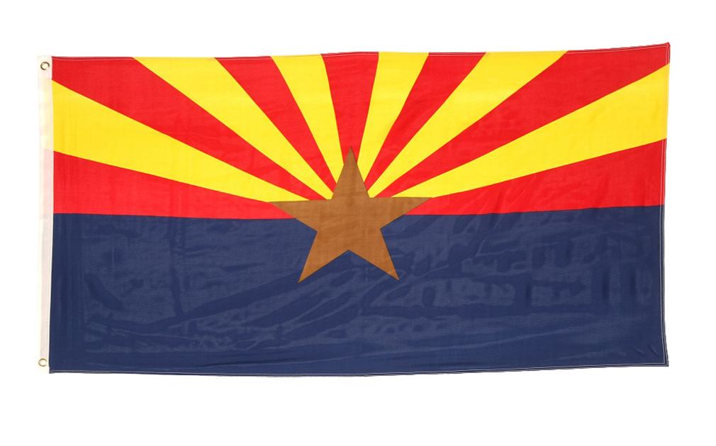 Shop72 US Arizona State Flags: Arizona Flag - 3x5' Flag from Sturdy 100D Polyester - Canvas Header Brass Grommets Double Stitched from Wind Side