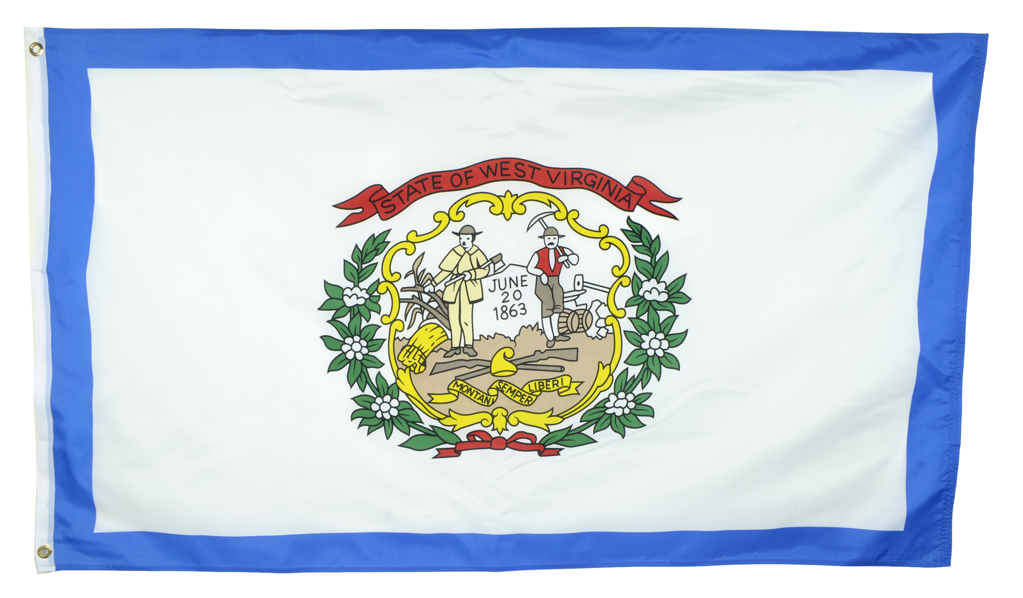Shop72 US West Virginia State Flags - West Virginia Flag - 3x5' Flag from Sturdy 100D Polyester - Canvas Header Brass Grommets Double Stitched from Wi