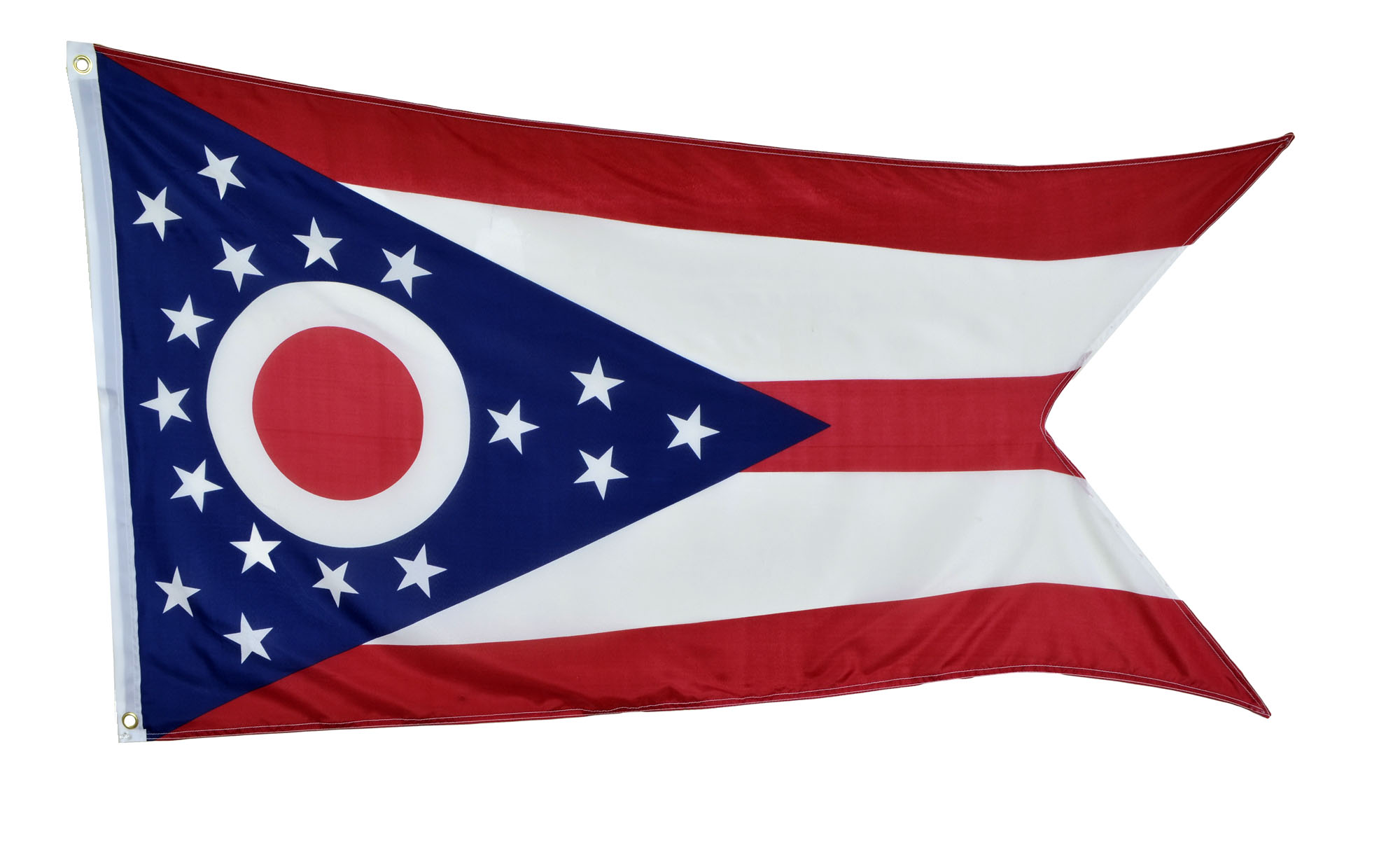 Shop72 US Ohio State Flags - Ohio Flag - 3x5' Flag from Sturdy 100D Polyester - Canvas Header Brass Grommets Double Stitched from Wind Side