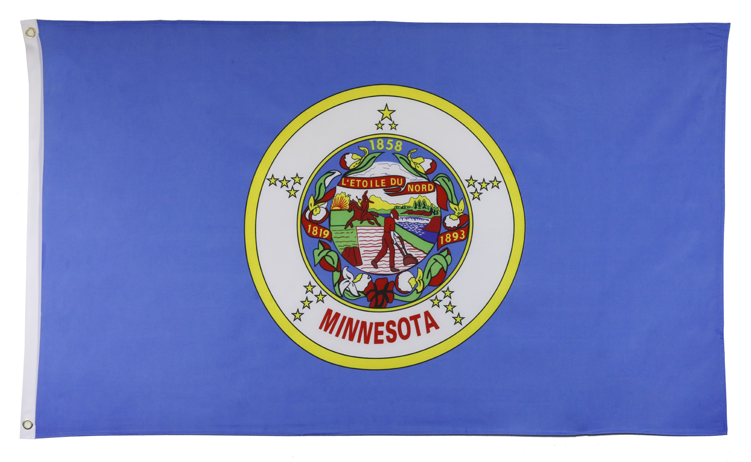 Shop72 US Minnesota State Flags - Minnesota Flag - 3x5' Flag from Sturdy 100D Polyester - Canvas Header Brass Grommets Double Stitched from Wind Side