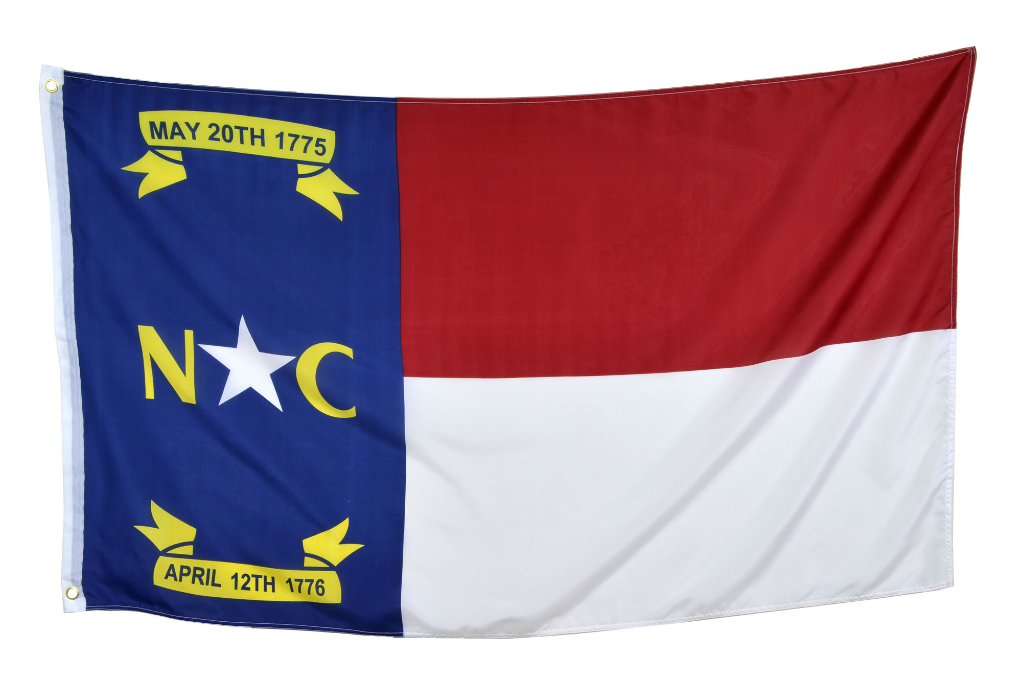 Shop72 US North Carolina State Flags - North Carolina Flag - 3x5' Flag from Sturdy 100D Polyester - Canvas Header Brass Grommets Double Stitched from