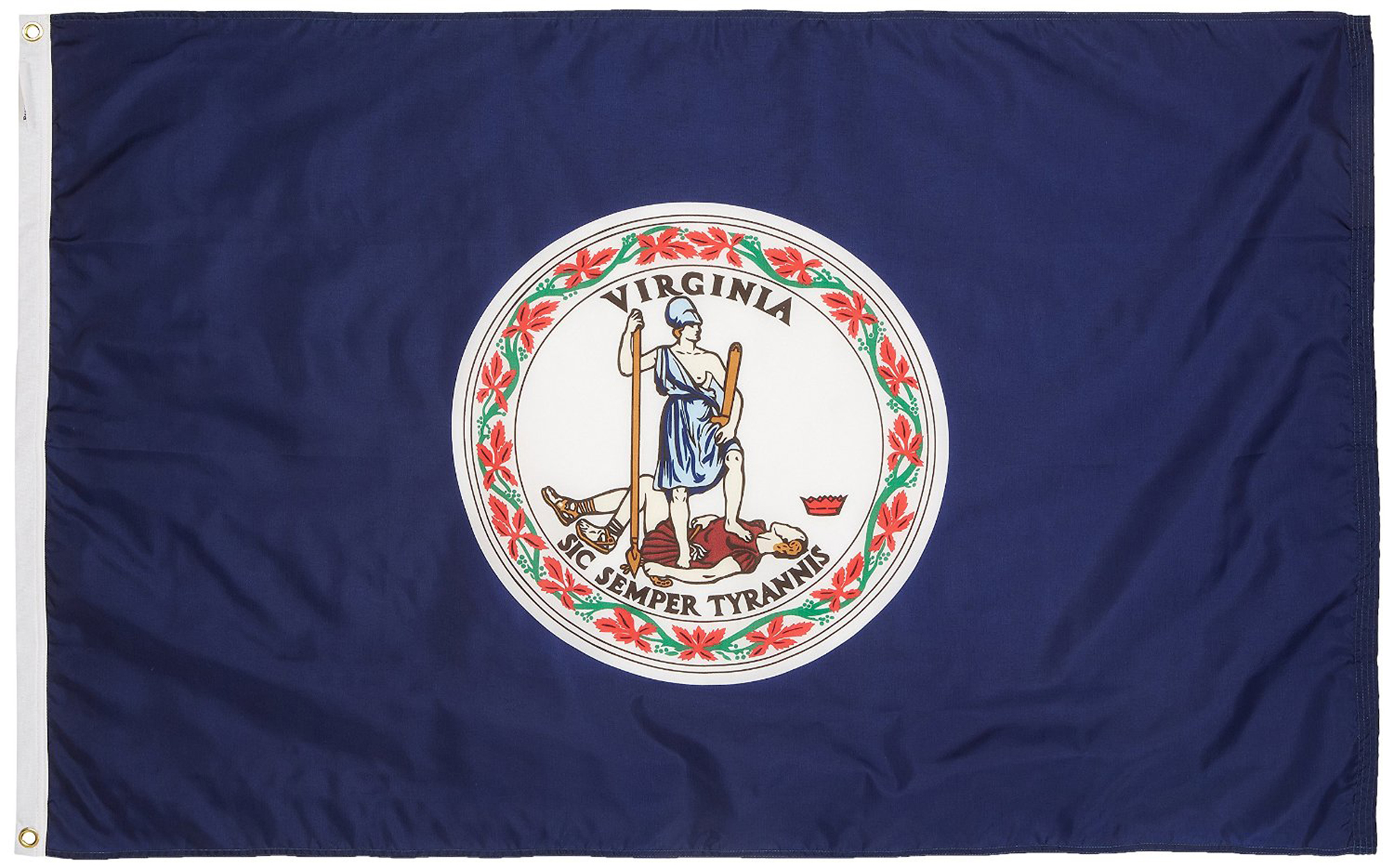 Shop72 US Virginia State Flags - Virginia Flag - 3x5' Flag from Sturdy 100D Polyester - Canvas Header Brass Grommets Double Stitched from Wind Side