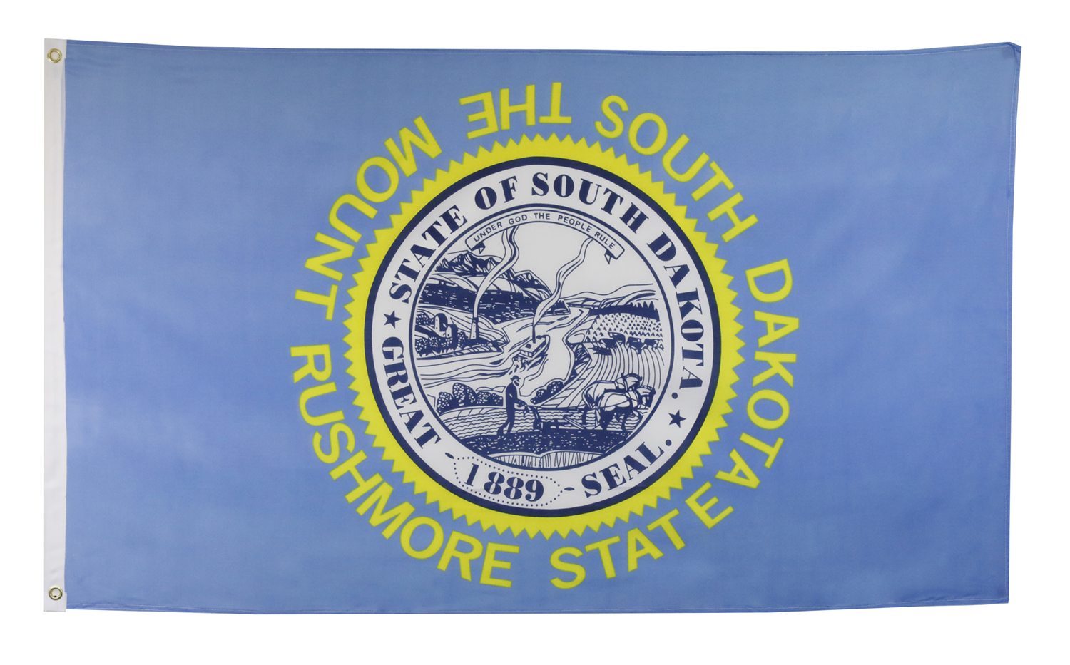 Shop72 US South Dakota State Flags - South Dakota Flag - 3x5' Flag from Sturdy 100D Polyester - Canvas Header Brass Grommets Double Stitched from Wind