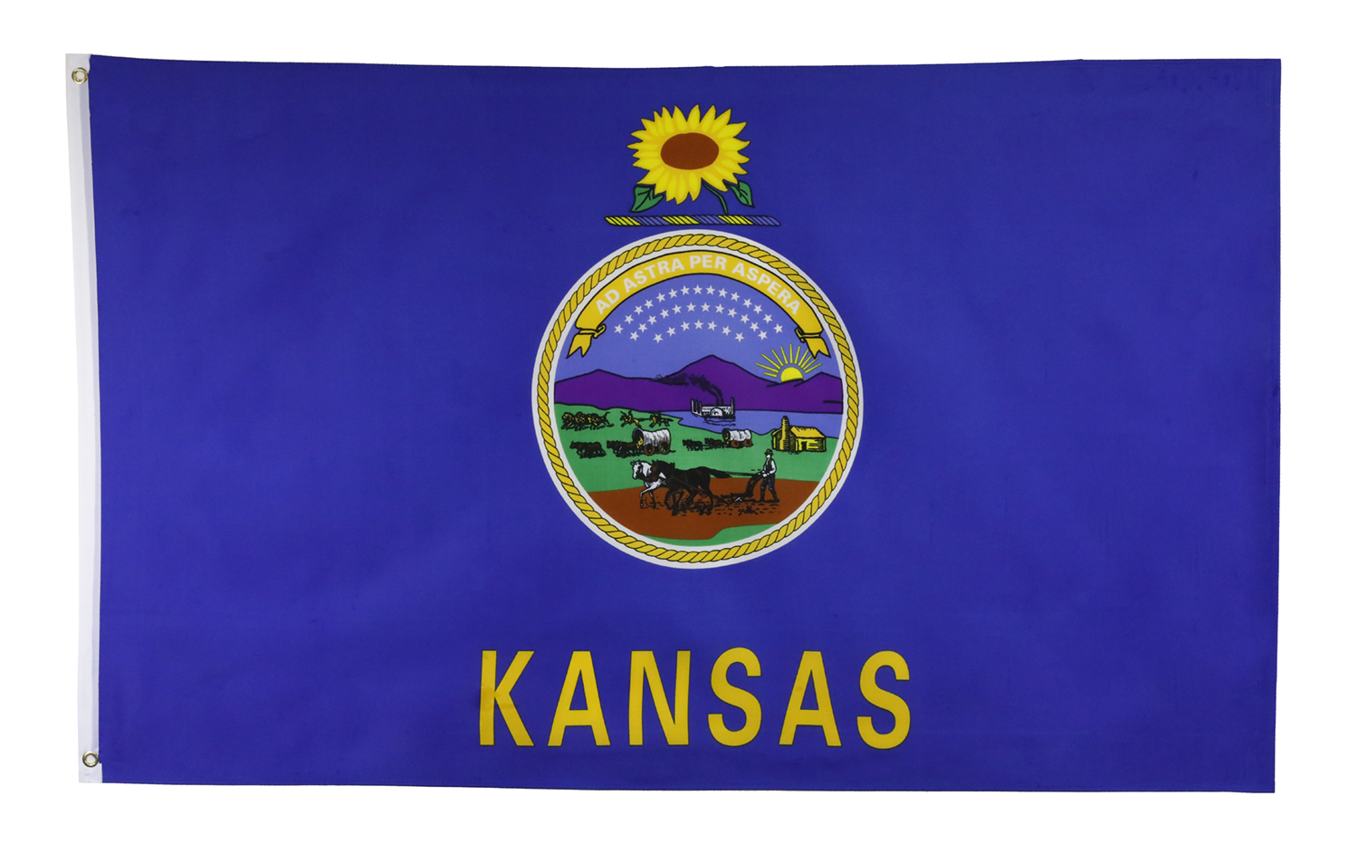 Shop72 US Kansas State Flags - Kansas Flag - 3x5' Flag from Sturdy 100D Polyester - Canvas Header Brass Grommets Double Stitched from Wind Side