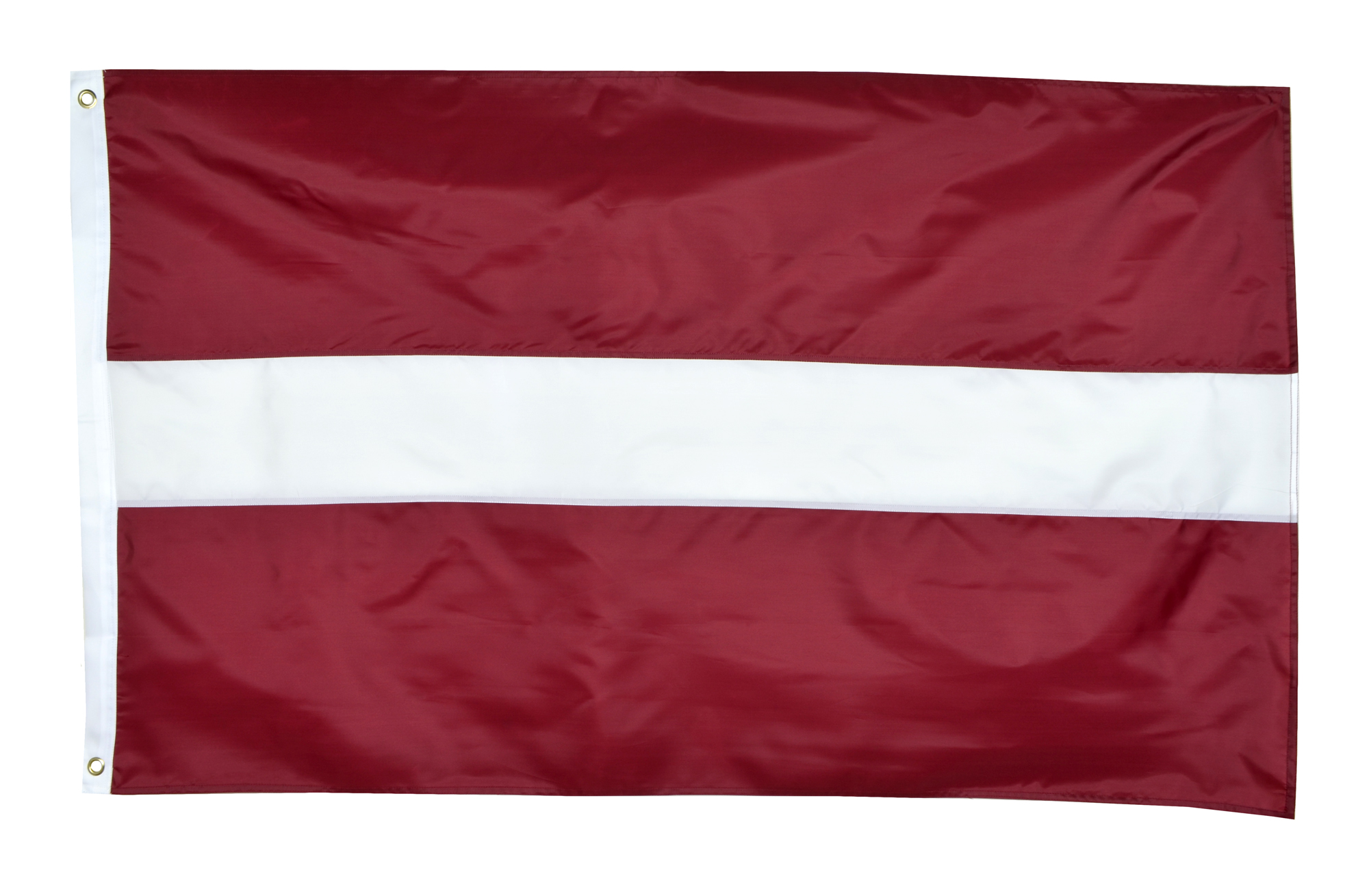 Shop72 - Latvia Flag Sewn Stripes Sturdy 201D Oxford Nylon Country Flags - World Flag - Canvas Header Brass Grommets Double Stitched from Wind Side