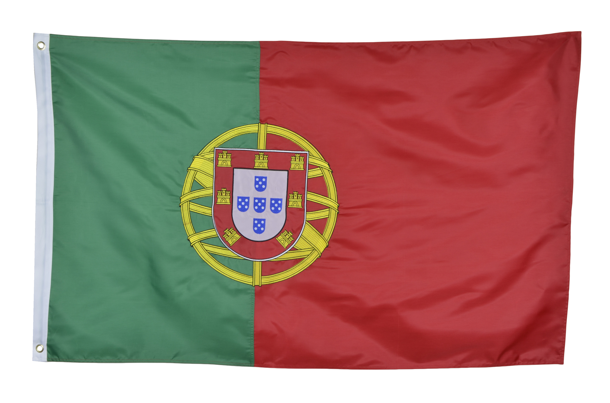 Shop72 - Portugal Flag Embroidered Sewn Stripes Sturdy 201D Oxford Nylon Country Flags - World Flag - Canvas Header Brass Grommets Double Stitched Fro