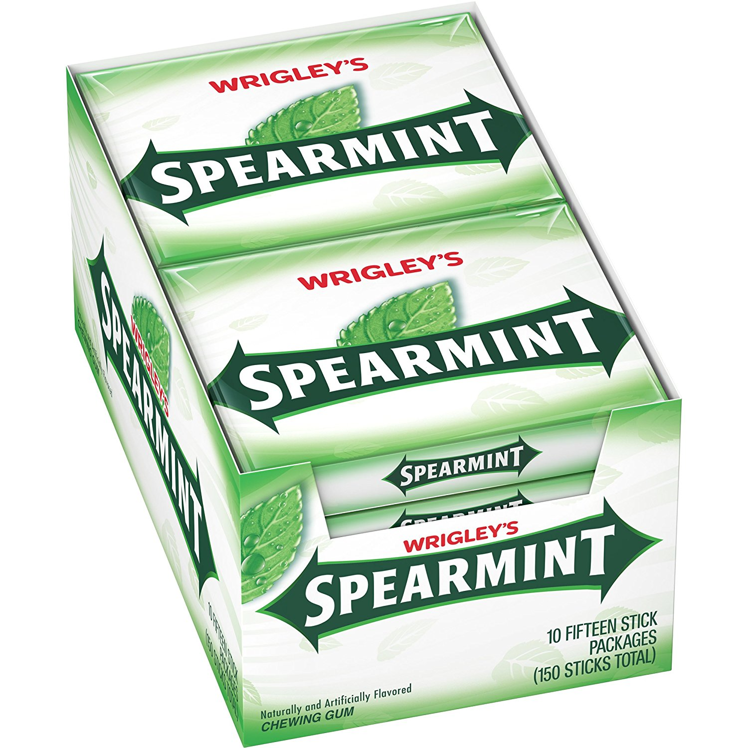 Wrigleys Spearmint Chewing Gum, 10 Pack Each Contains 15 Count Sticks - 1 Box