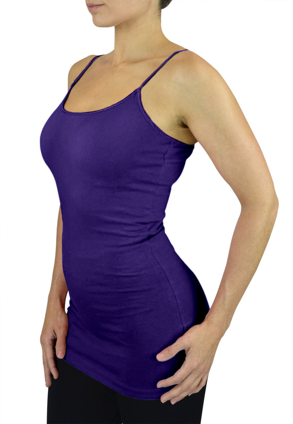 Belle Donne Womens Solid Color Stretch Camisole Spaghetti Strap - Bright Royal/Medium