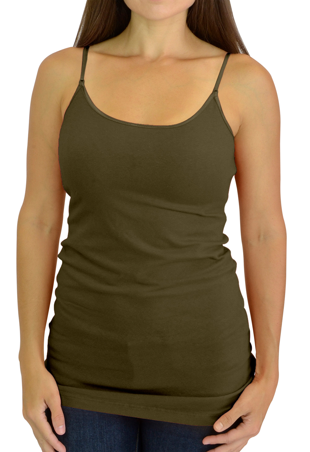 Belle Donne Women's Adjustable SpaghettiStrap TankTop Cami - Olive Small