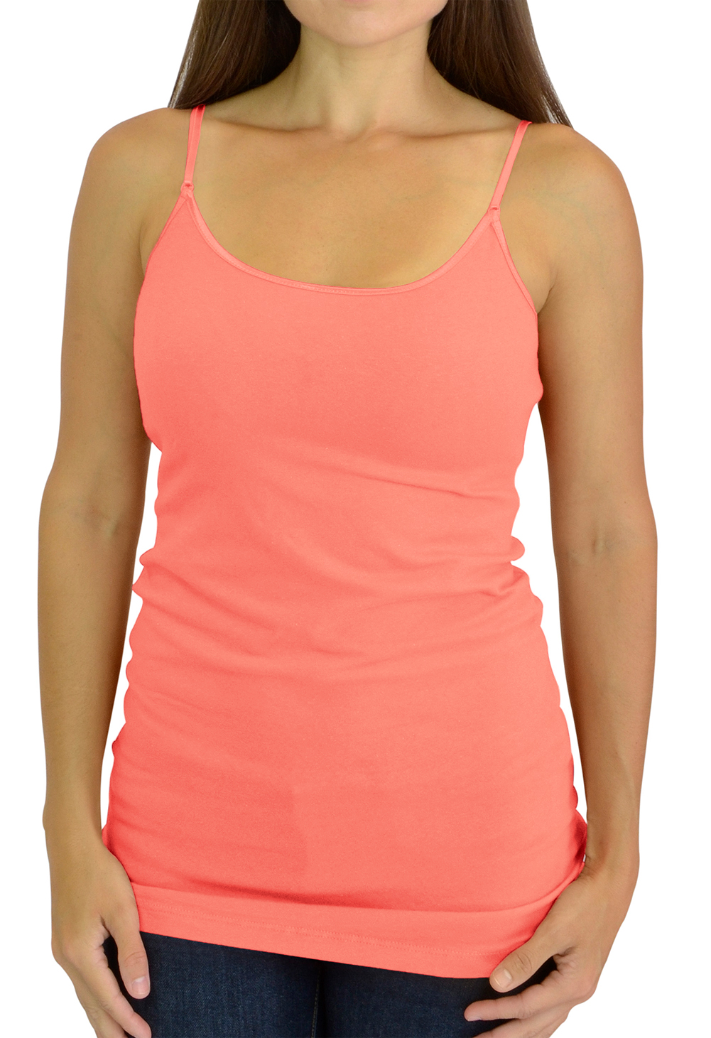 Belle Donne Cami Camisole Adjustable Spaghetti Strap Tank Top for Women and Girls by Deep Peach Medium