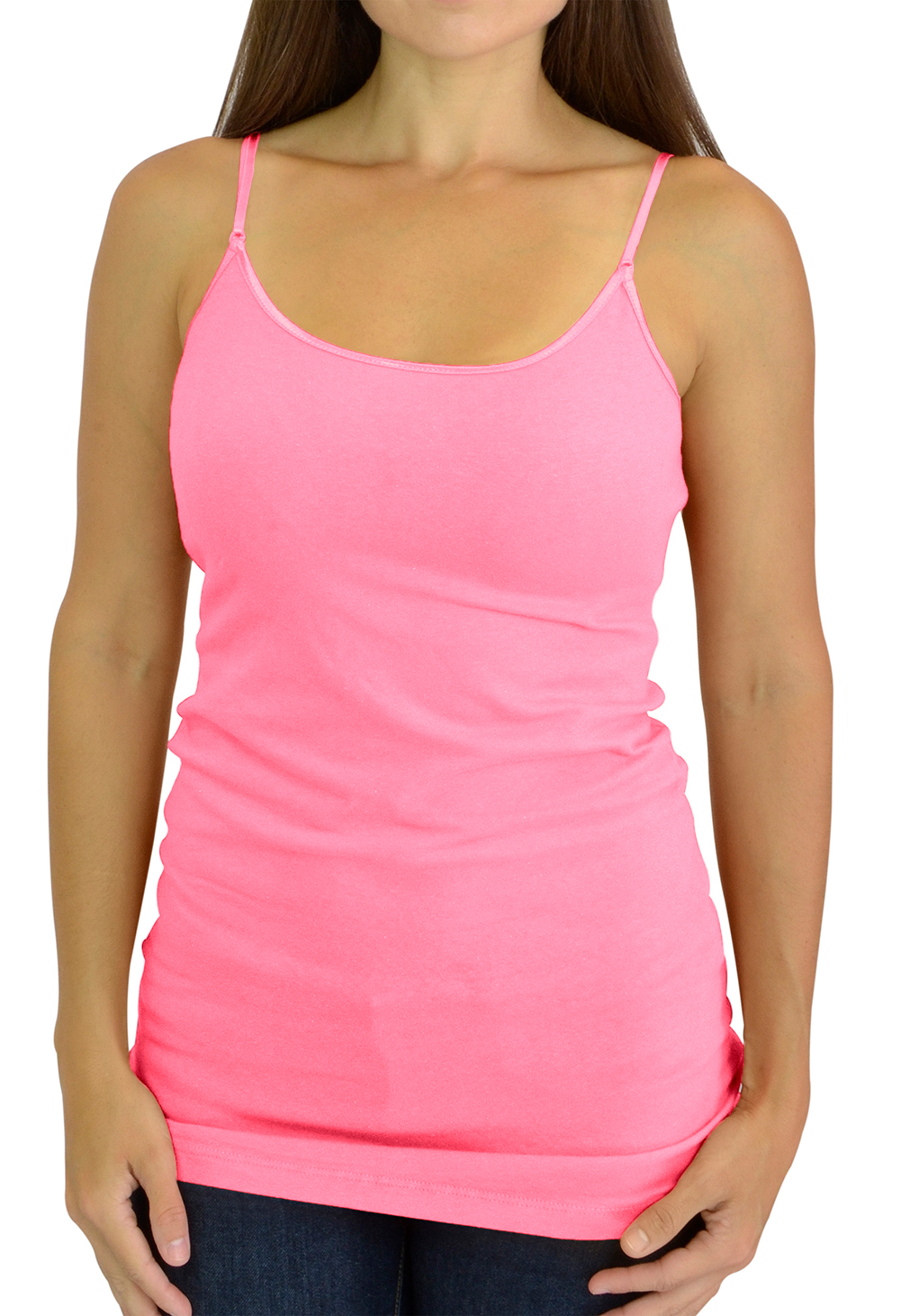 Cami Camisole Adjustable Spaghetti Strap Tank Top for Women and Girls by Belle Donne - Bright Pink Large