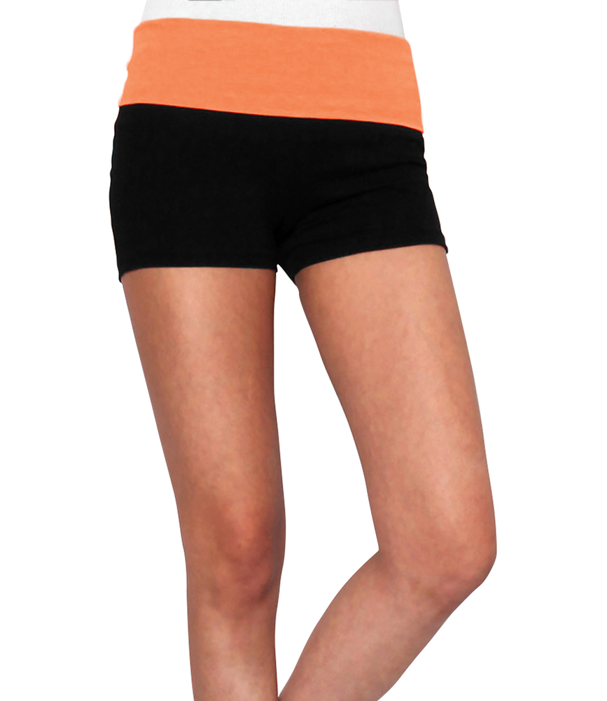Women Yoga Shorts - Fold Over Cotton Shorts for Gym Girls by Belle Donne - Neon Orange Small