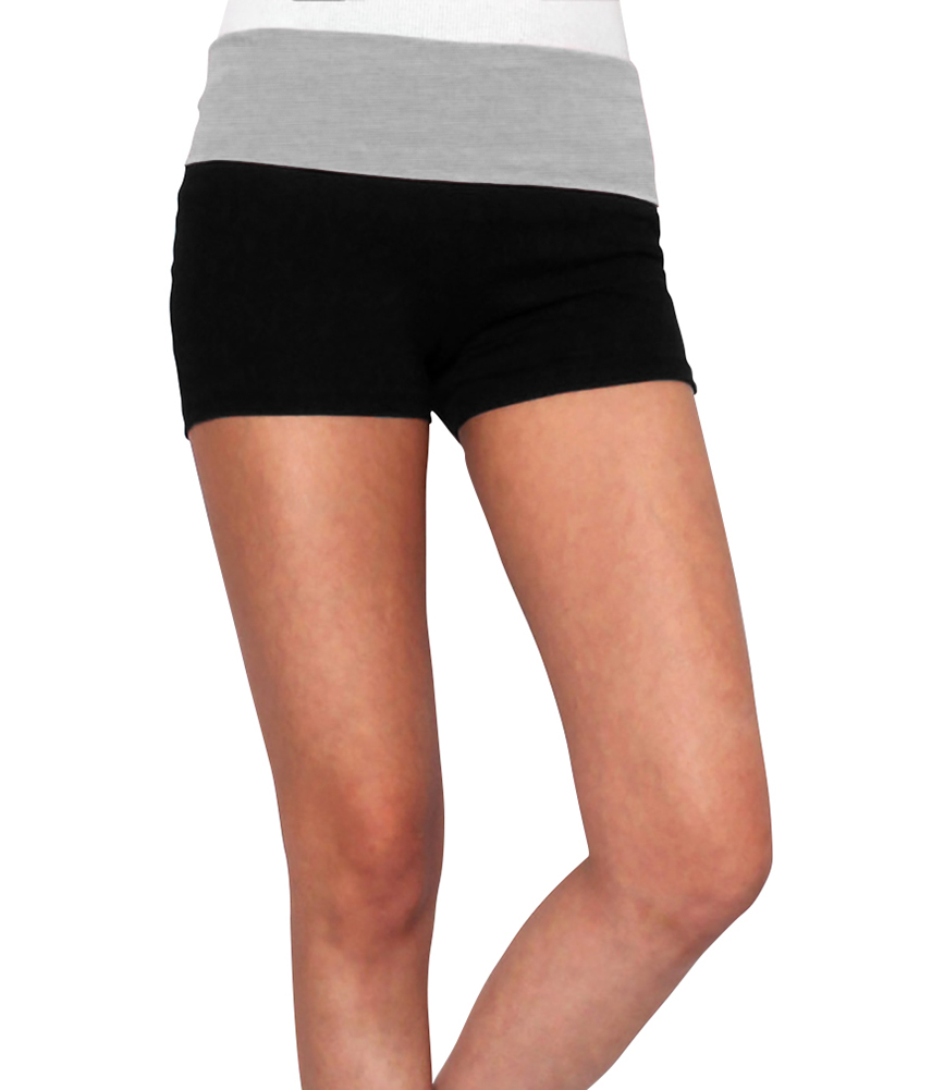Belle Donne Womens Cotton Yoga Shorts - Foldover Cotton Spandex Girls Bike Running Boyshorts by Heather Gray Small