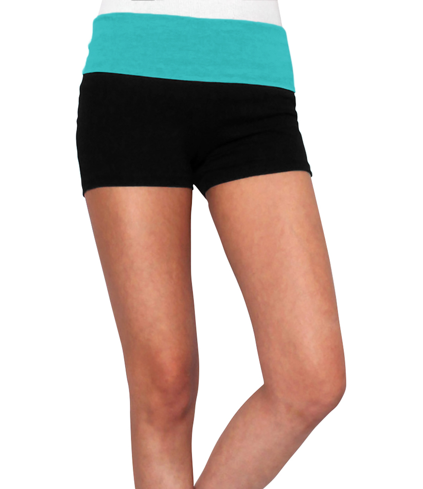 Belle Donne Women Yoga Shorts - Fold Over Cotton Shorts For Gym Girls by Soft Teal Small