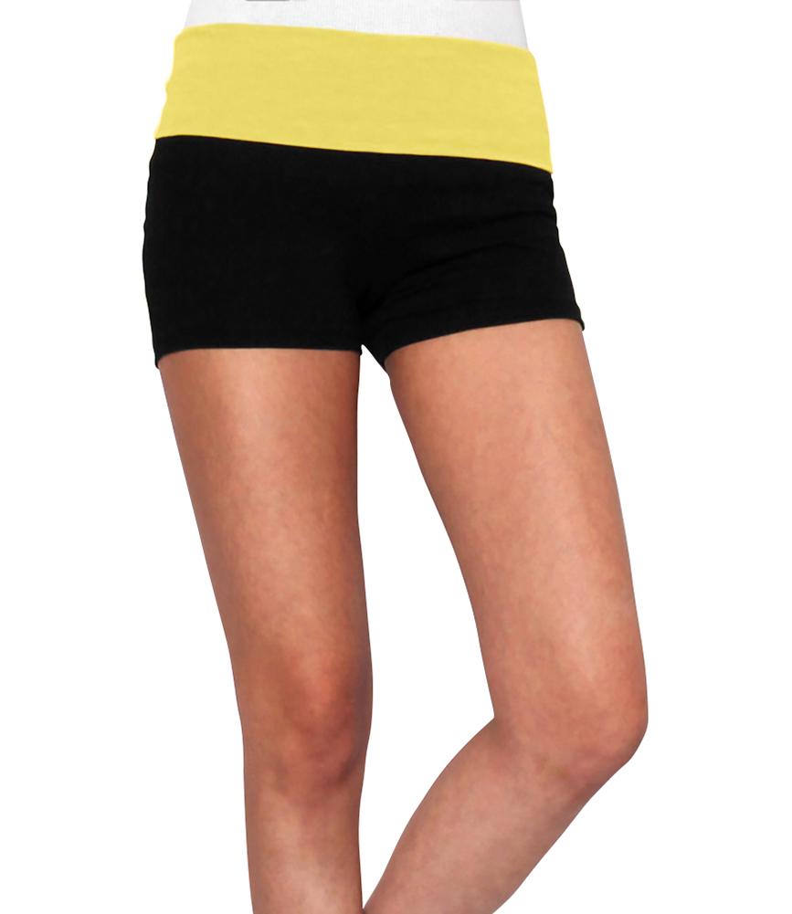 Belle Donne Women Yoga Shorts - Fold Over Cotton Shorts For Gym Girls Yellow Small