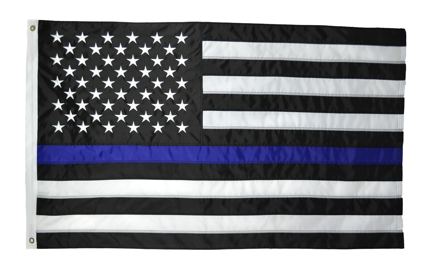 Thin Blue Line Flag - 3X5 Foot - Embroidered Stars - Sewn Stripes - Black White and Blue American Police Flag Honoring Law Enforcement Officers
